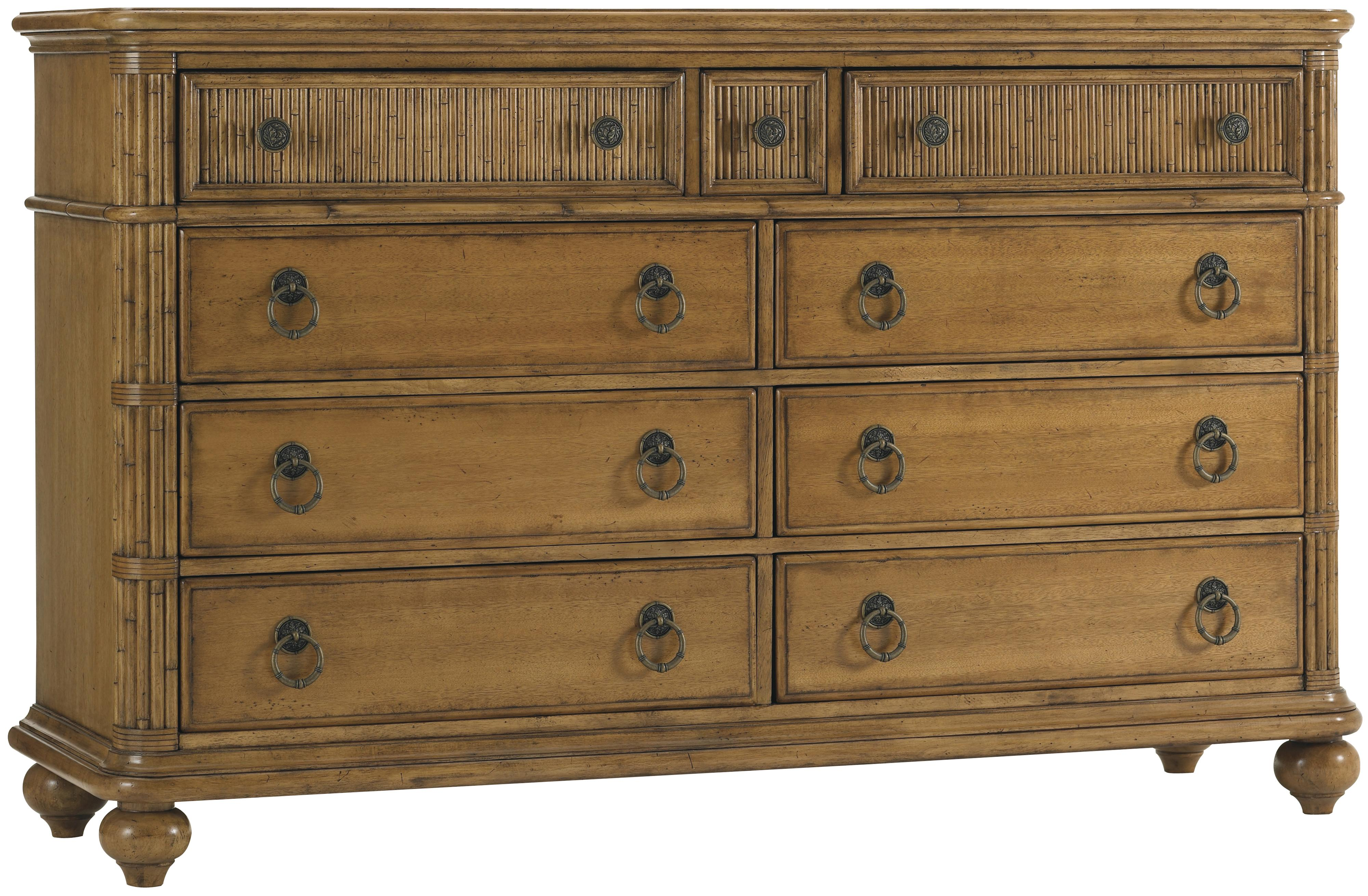 Tommy Bahama Home Beach House 540 233 Nine Drawer Biscayne Dresser With Drop Front Media Drawers