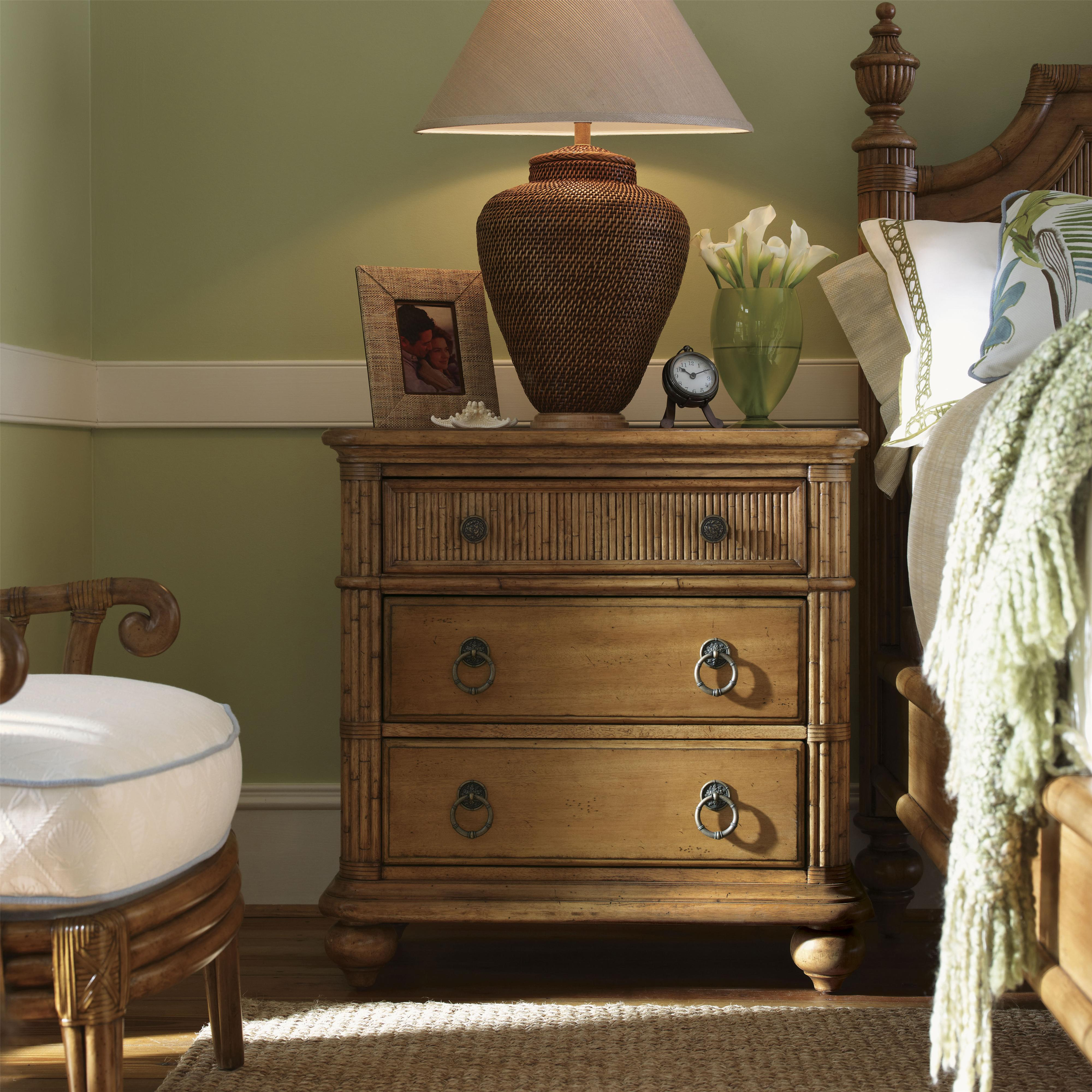 Tommy Bahama Home Beach House 540 621 Three Drawer Delray Nightstand With Bamboo Drawer Front