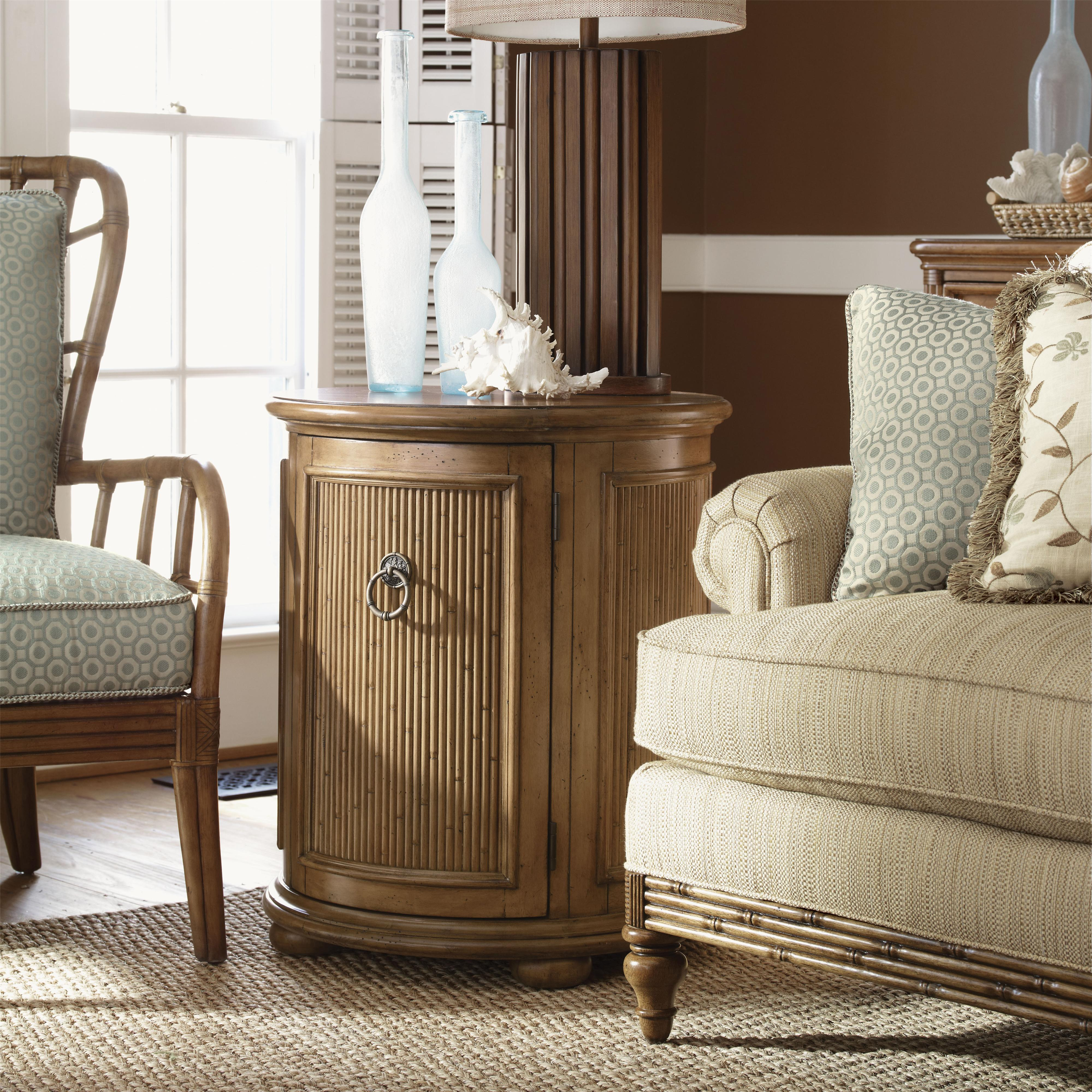 Tommy bahama home beach house round drum style pompano accent table with one door one shelf Badcock home furniture more pompano beach fl