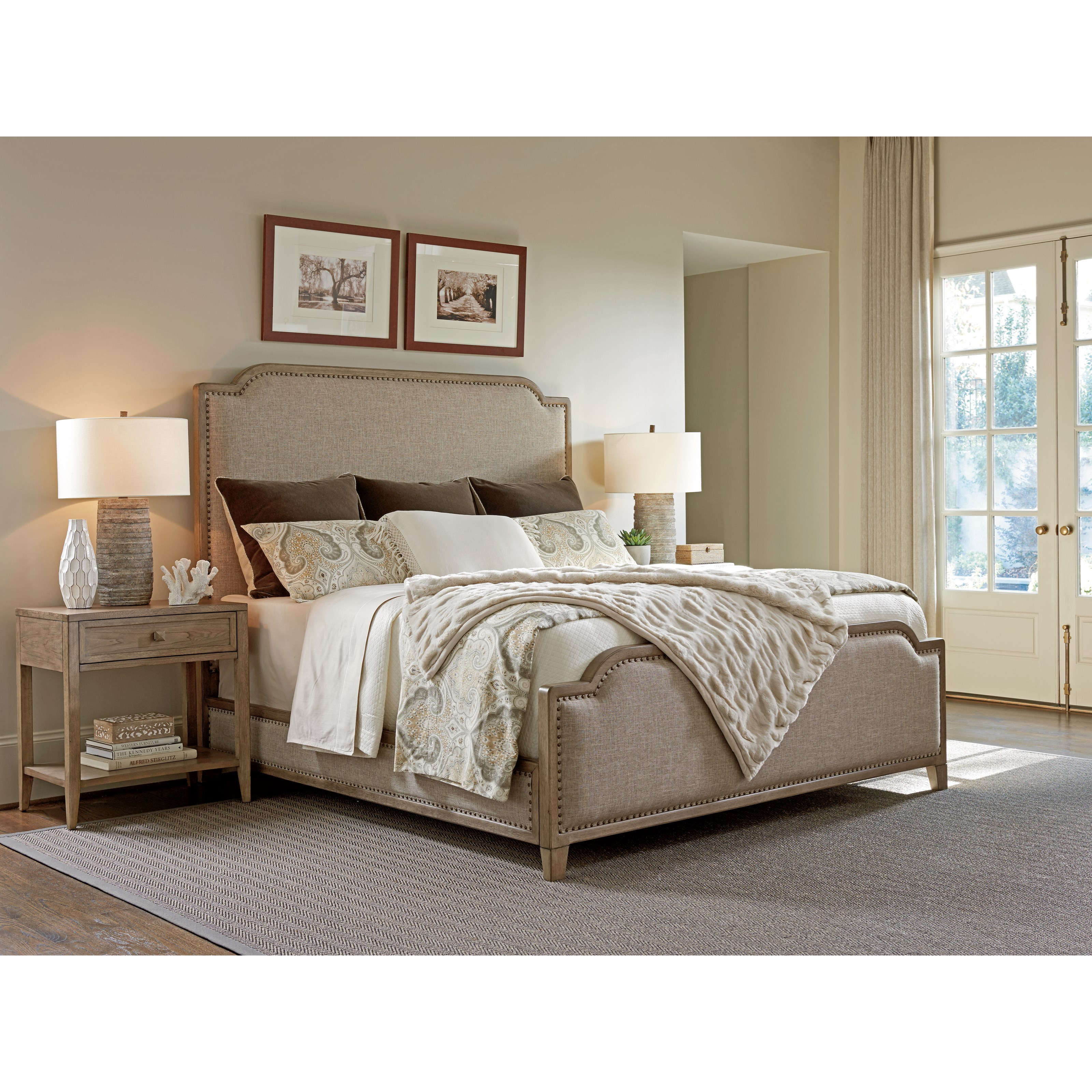 Tommy bahama home cypress point stone harbour queen size bed with fabric upholstery and nailhead Home furniture queen size bed