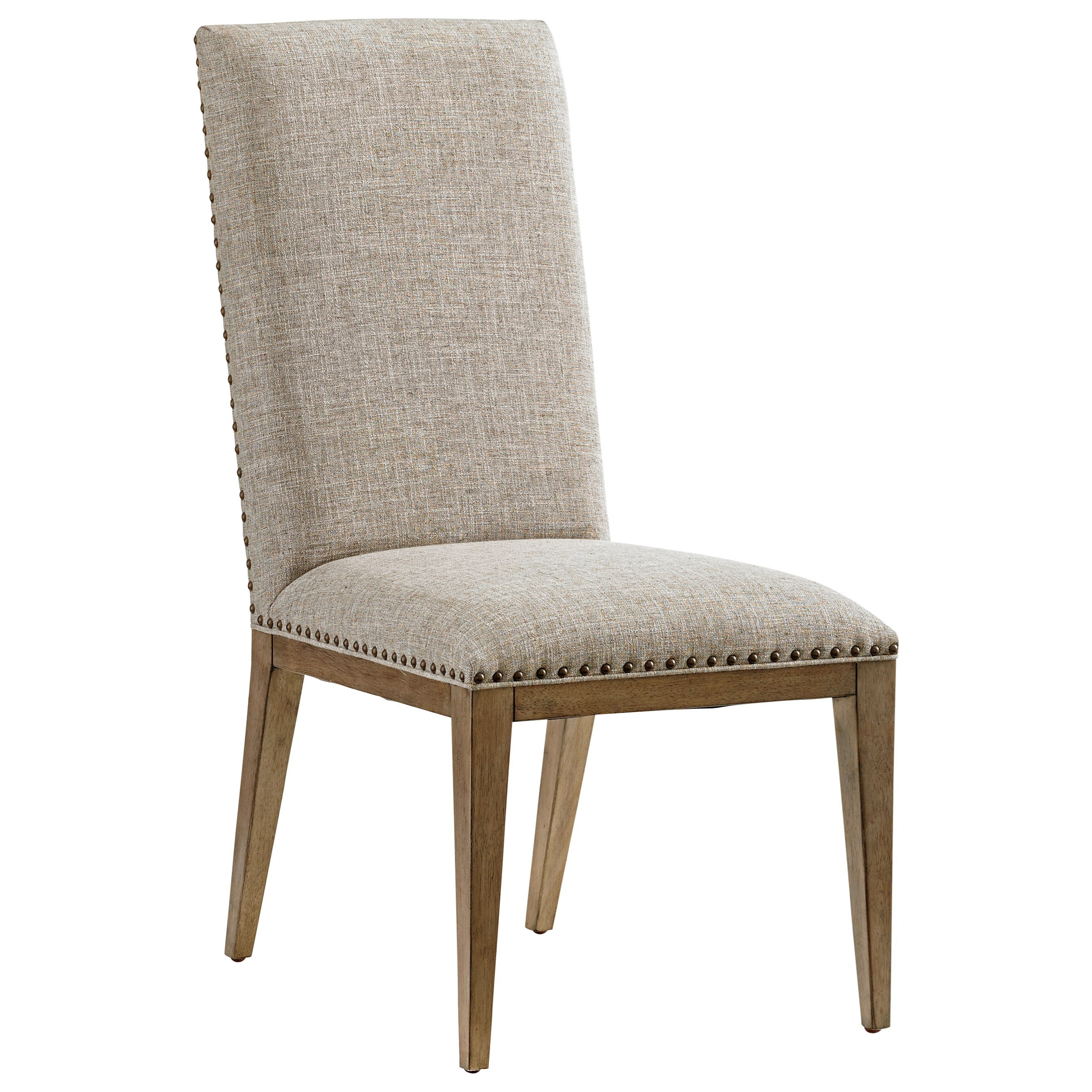 Tommy bahama home cypress point devereaux upholstered side for Dining table tj hughes