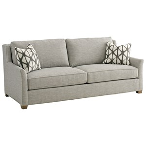 tommy bahama home cypress point hughes leather sofa with. Black Bedroom Furniture Sets. Home Design Ideas