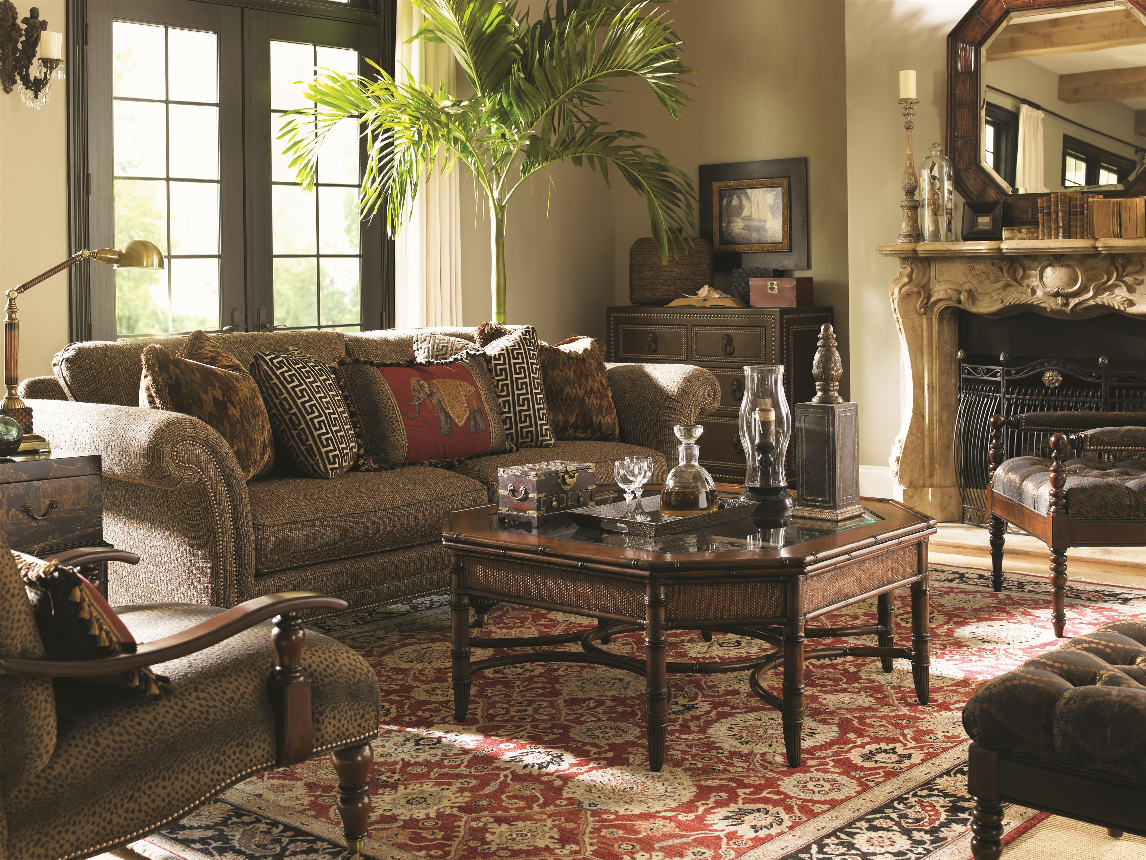 tommy bahama home landara 7719 33 southport sofa with turned wood legs and casters baer 39 s. Black Bedroom Furniture Sets. Home Design Ideas