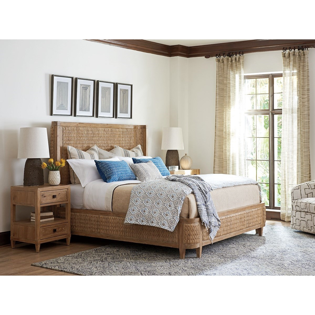 Tommy Bahama Home Los Altos 566 134c Ivory Coast King Size Bed With Woven Banana Leaf Baer 39 S
