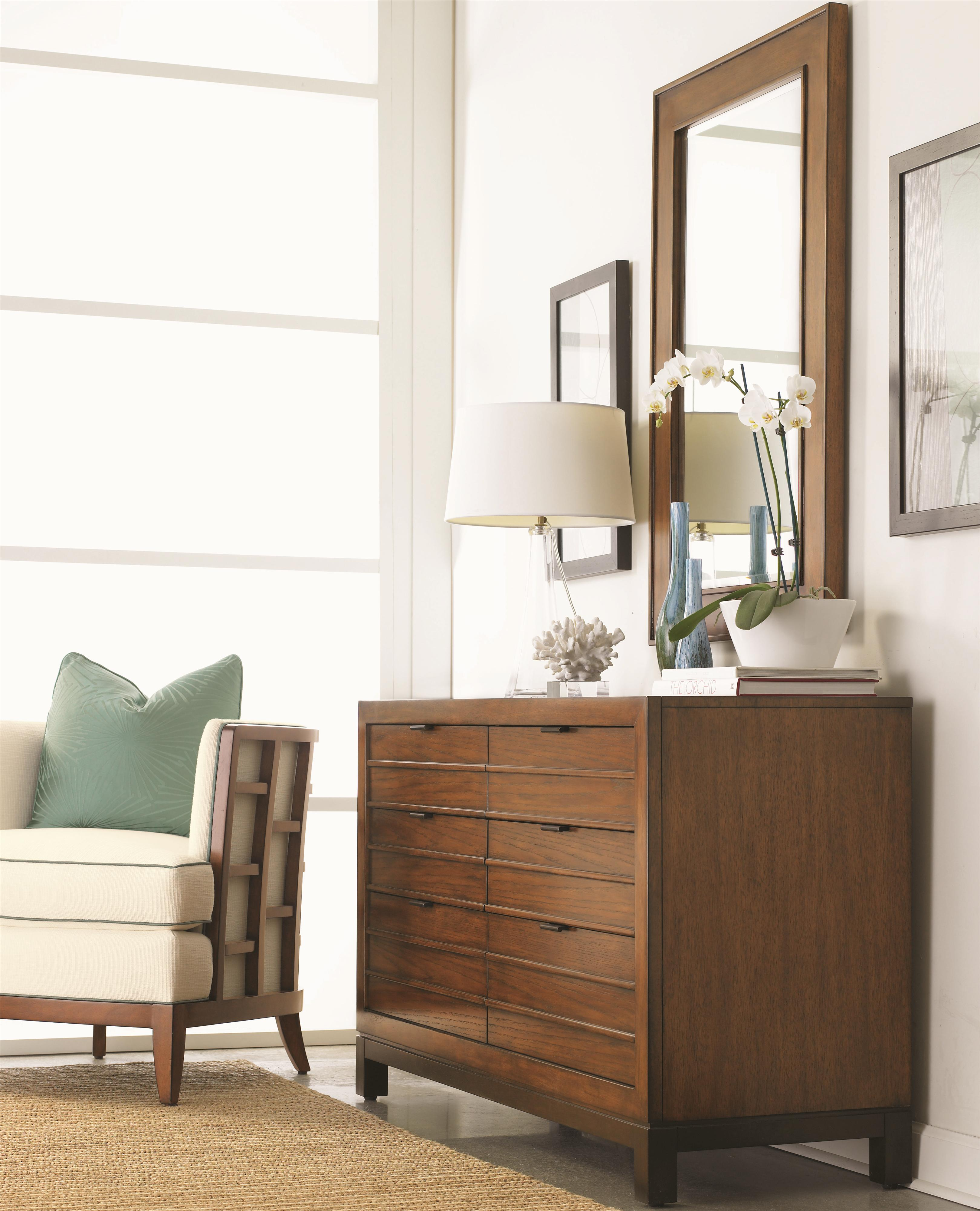Tommy Bahama Home Ocean Club Six Drawer Palm Bay Dresser Beveled Somerset Mirror Combination