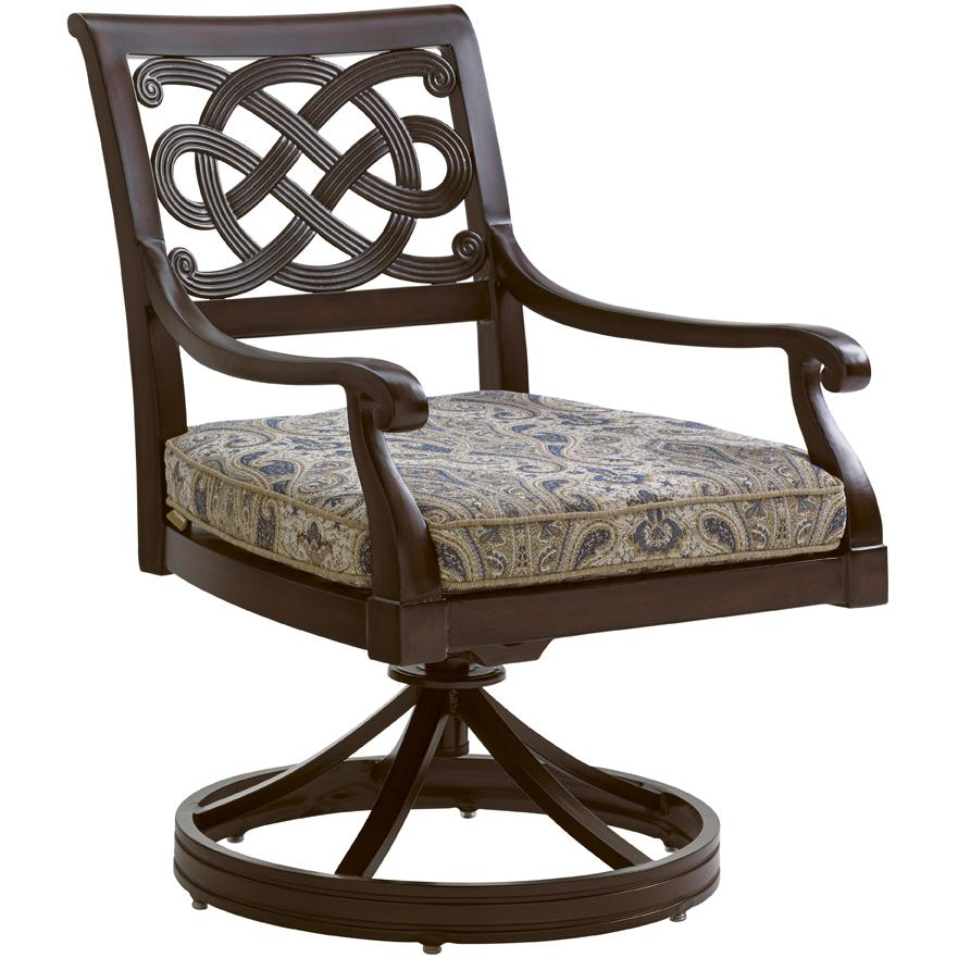 Tommy Bahama Outdoor Living Black Sands Outdoor Swivel Rocker Dining Chair wi