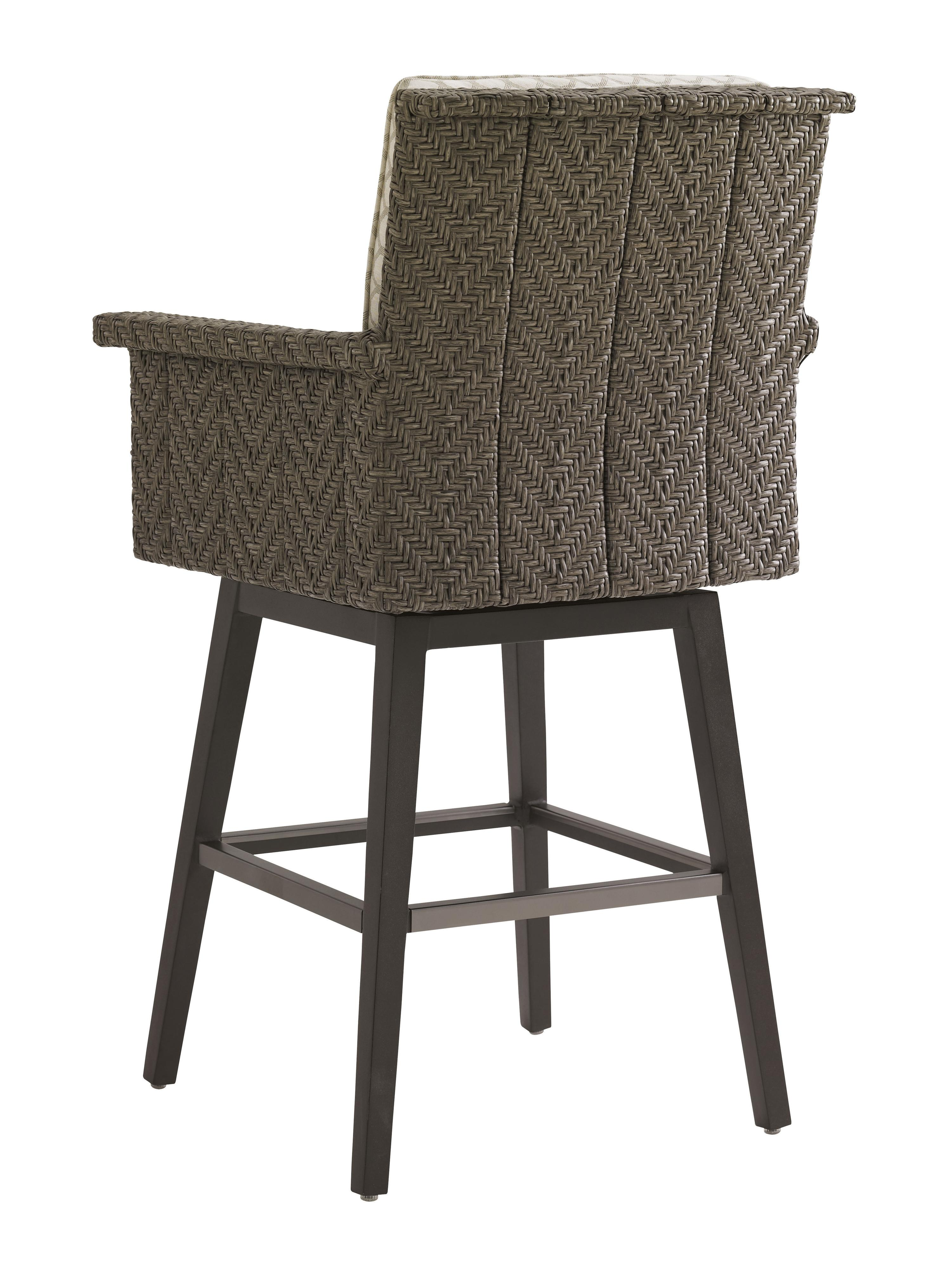 Tommy Bahama Outdoor Living Blue Olive Swivel Bar Stool With Cushion Jacksonville Furniture