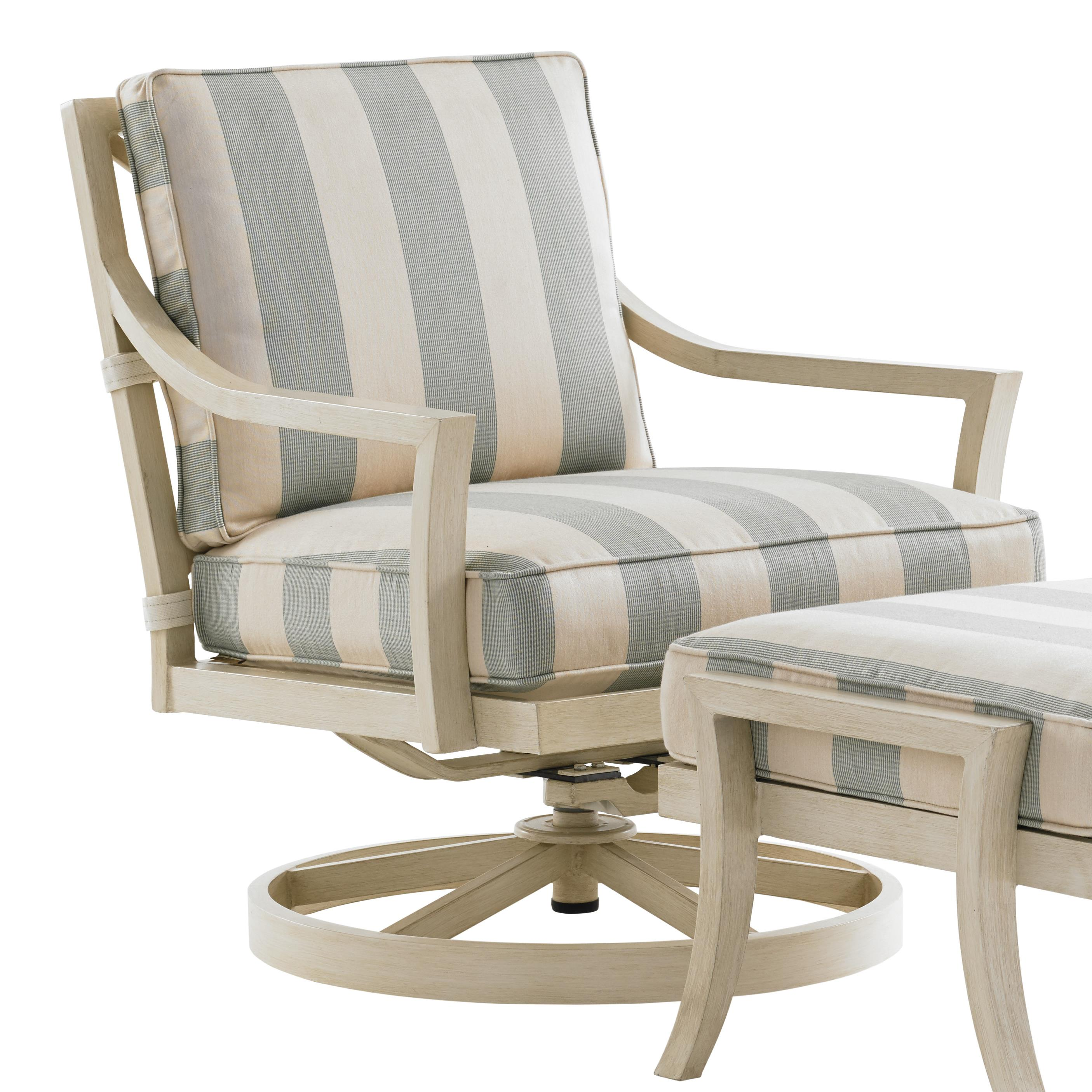 Tommy bahama outdoor living misty garden outdoor swivel for Fabric for outdoor chairs