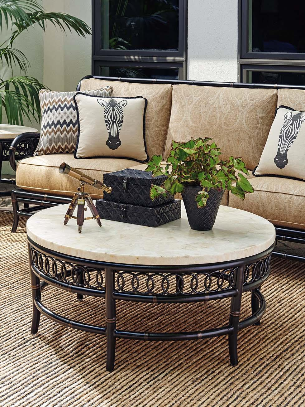 tommy bahama outdoor living marimba 3237 943 outdoor cocktail table with white crystal stone top. Black Bedroom Furniture Sets. Home Design Ideas