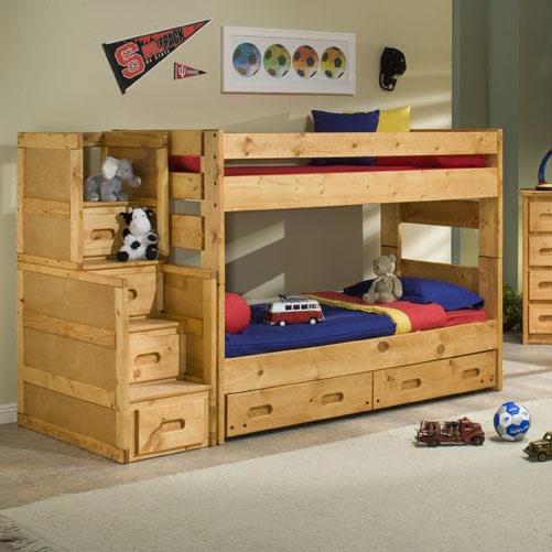 Trendwood Bunkhouse Twin Over Twin Wrangler Staircase Bunk Bed With Storage Olinde 39 S Furniture
