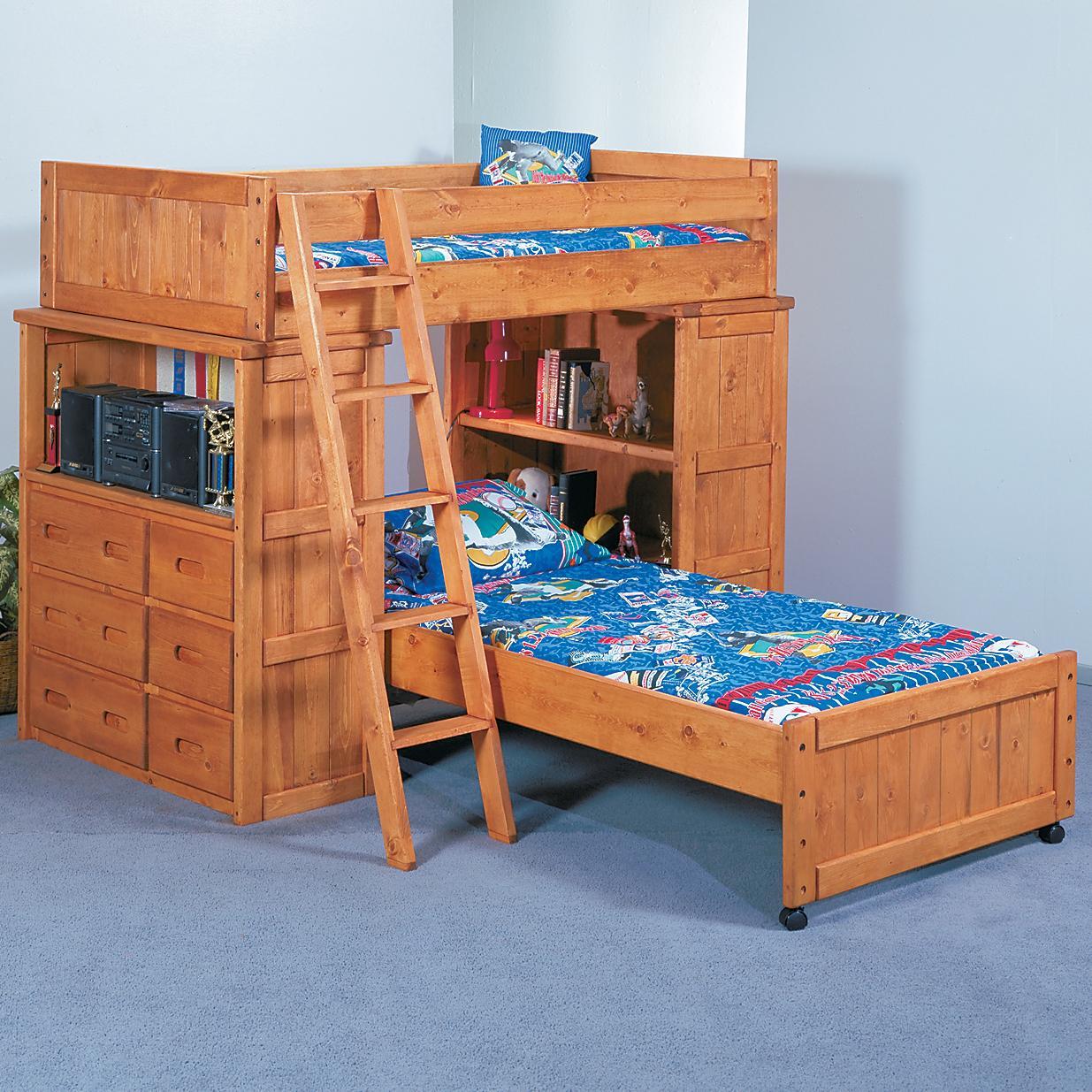 trendwood bunkhouse twin twin roundup modular loft bed with dresser and shelf units olinde 39 s. Black Bedroom Furniture Sets. Home Design Ideas