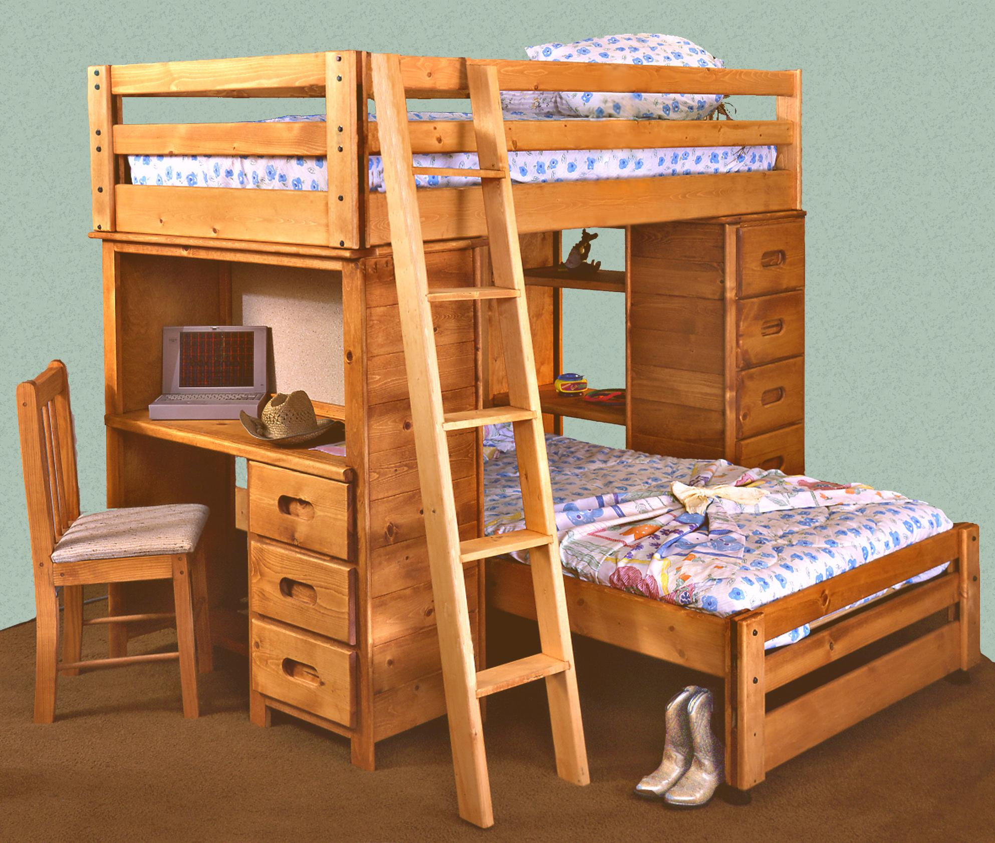 Trendwood Bunkhouse Twin Twin Bronco Loft Bed with Built