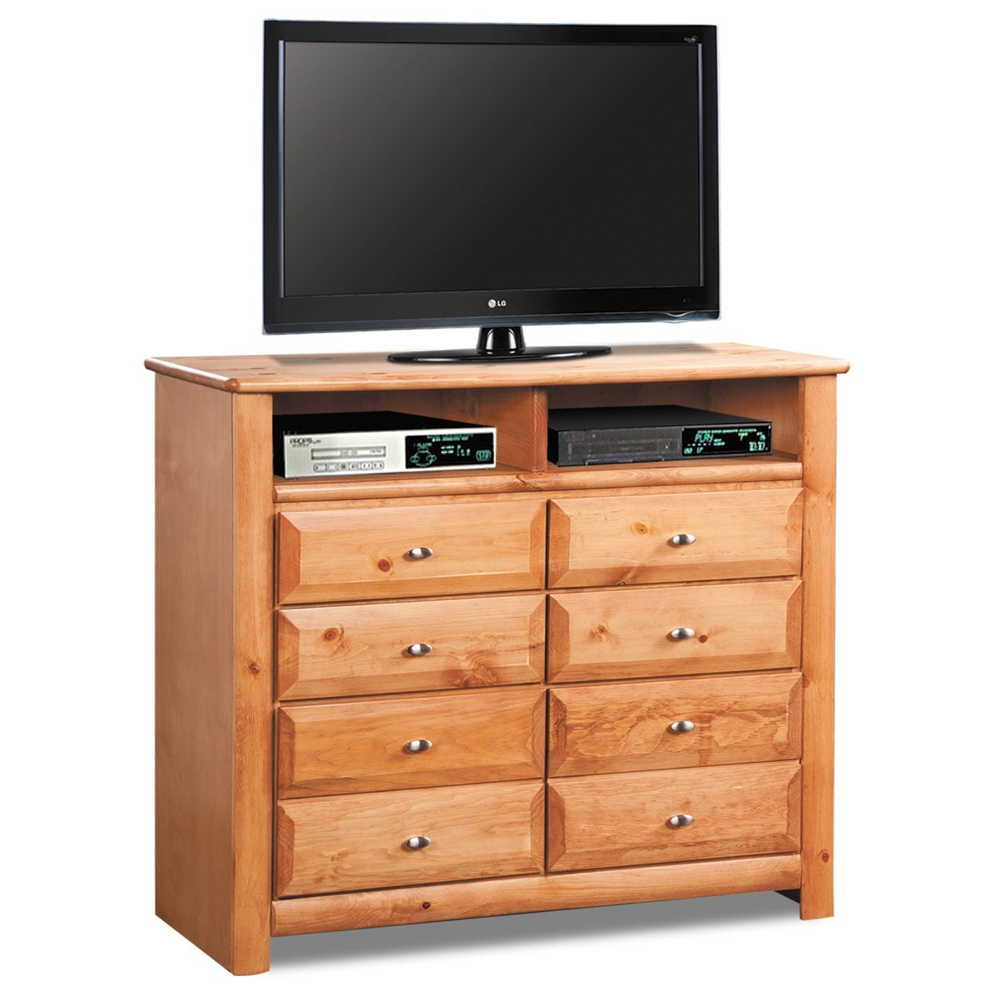 Trendwood Laguna 4539ca Media Chest With 2 Open Compartments And Eight Drawers Dunk Bright