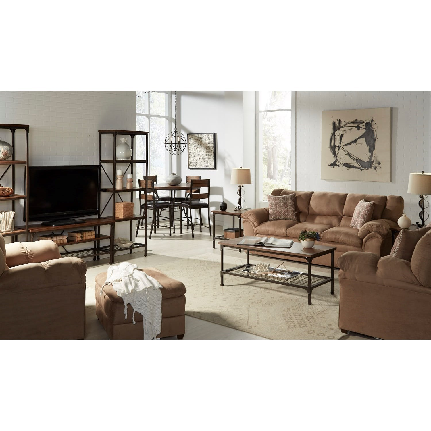 Simmons upholstery 1720 united casual living room group for Living room furniture groups