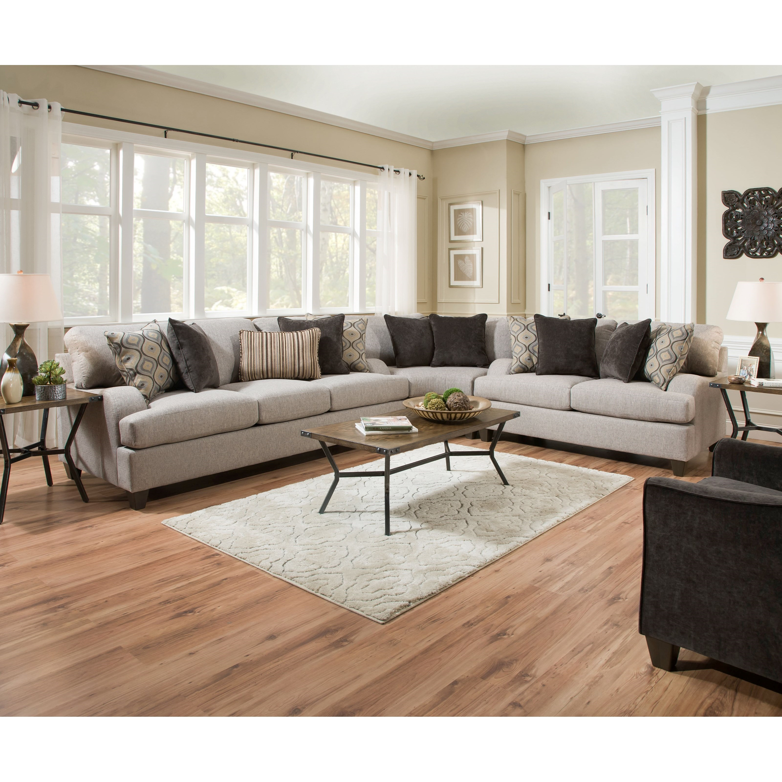 Simmons upholstery 4002 transitional sectional sofa for Simmons upholstery sectional sofa