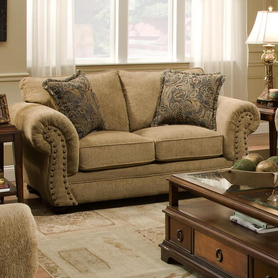 Simmons Upholstery 4277 Traditional Loveseat With Rolled Arms And Nailhead Trim Dunk Bright