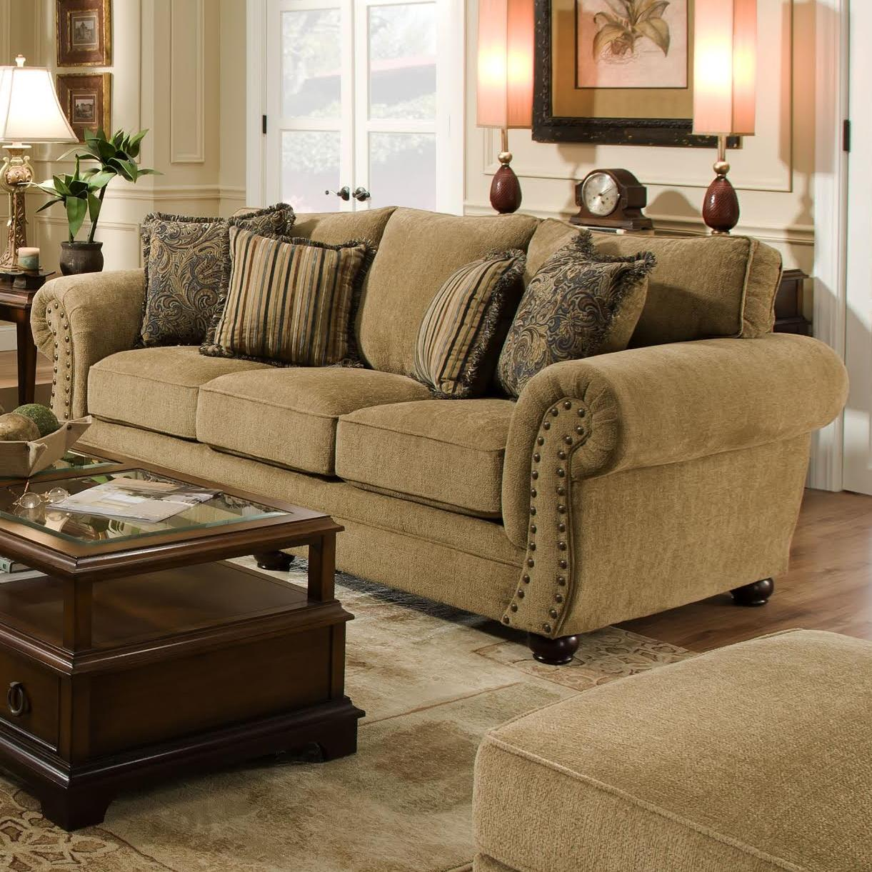 Simmons Upholstery 4277 Traditional Sofa With Rolled Arms And Nailhead Trim Dunk Bright