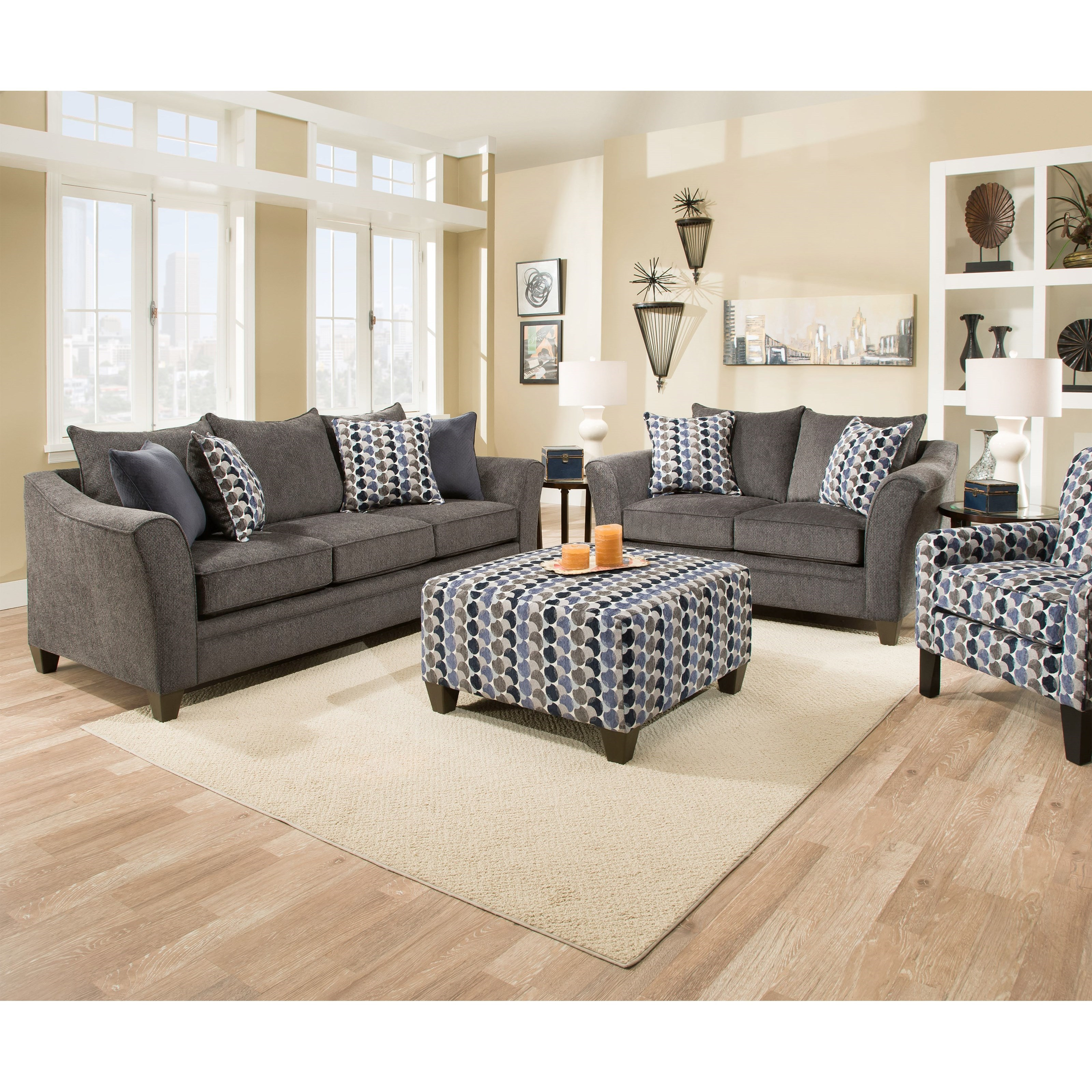 United furniture industries 6485 stationary living room for Living room furniture groups