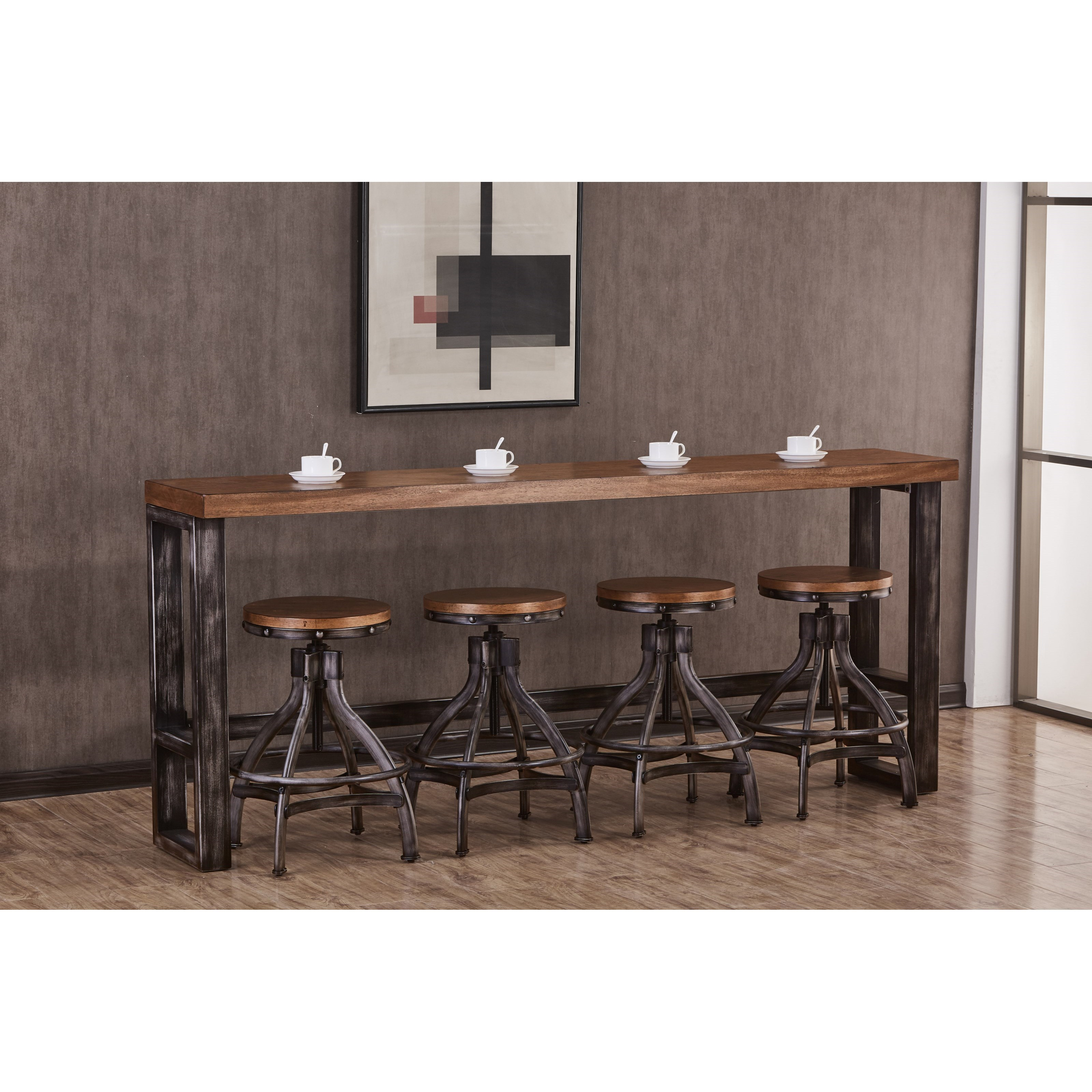 simmons upholstery 7326 7326 40 contemporary industrial sofa bar table with distressed finish. Black Bedroom Furniture Sets. Home Design Ideas