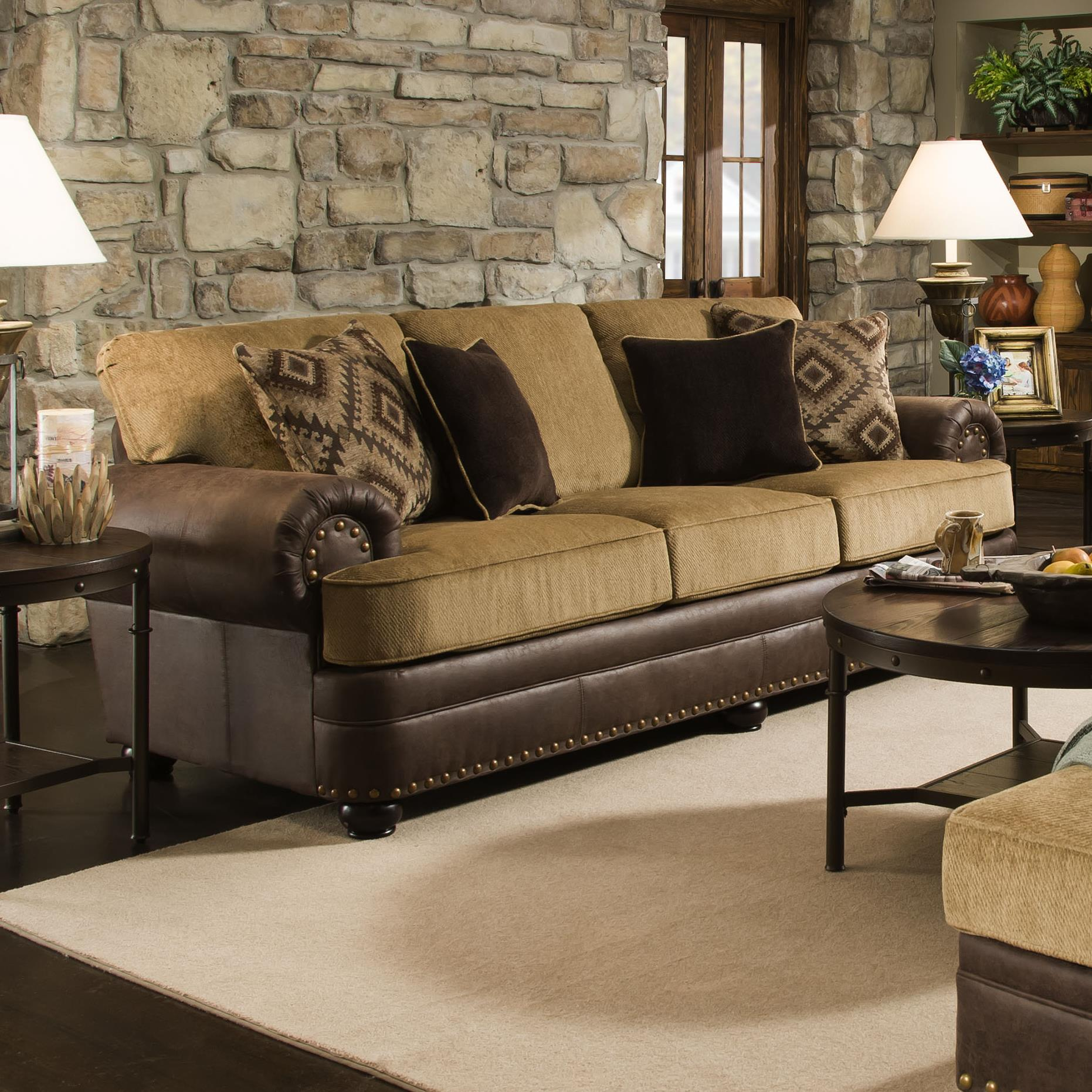 Simmons Upholstery 7541 Rustic Style Sofa with Nailhead