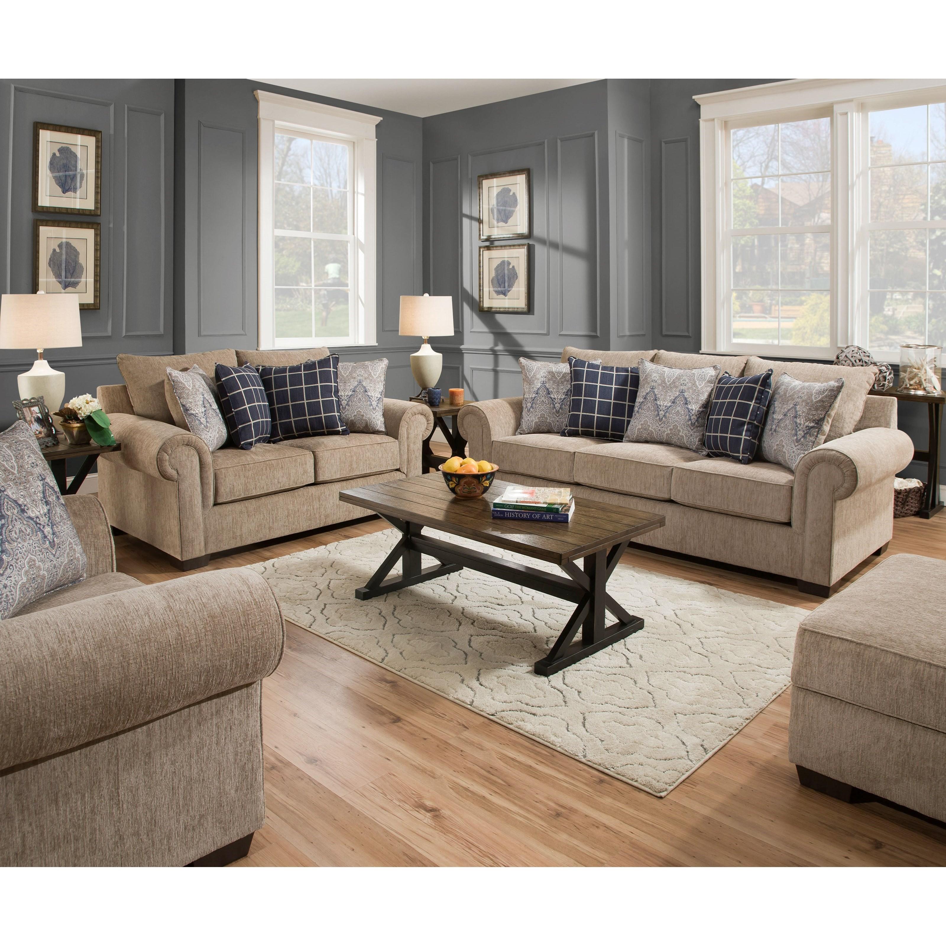 Simmons Upholstery 7592BR Living Room Group Royal Furniture Stationary Li