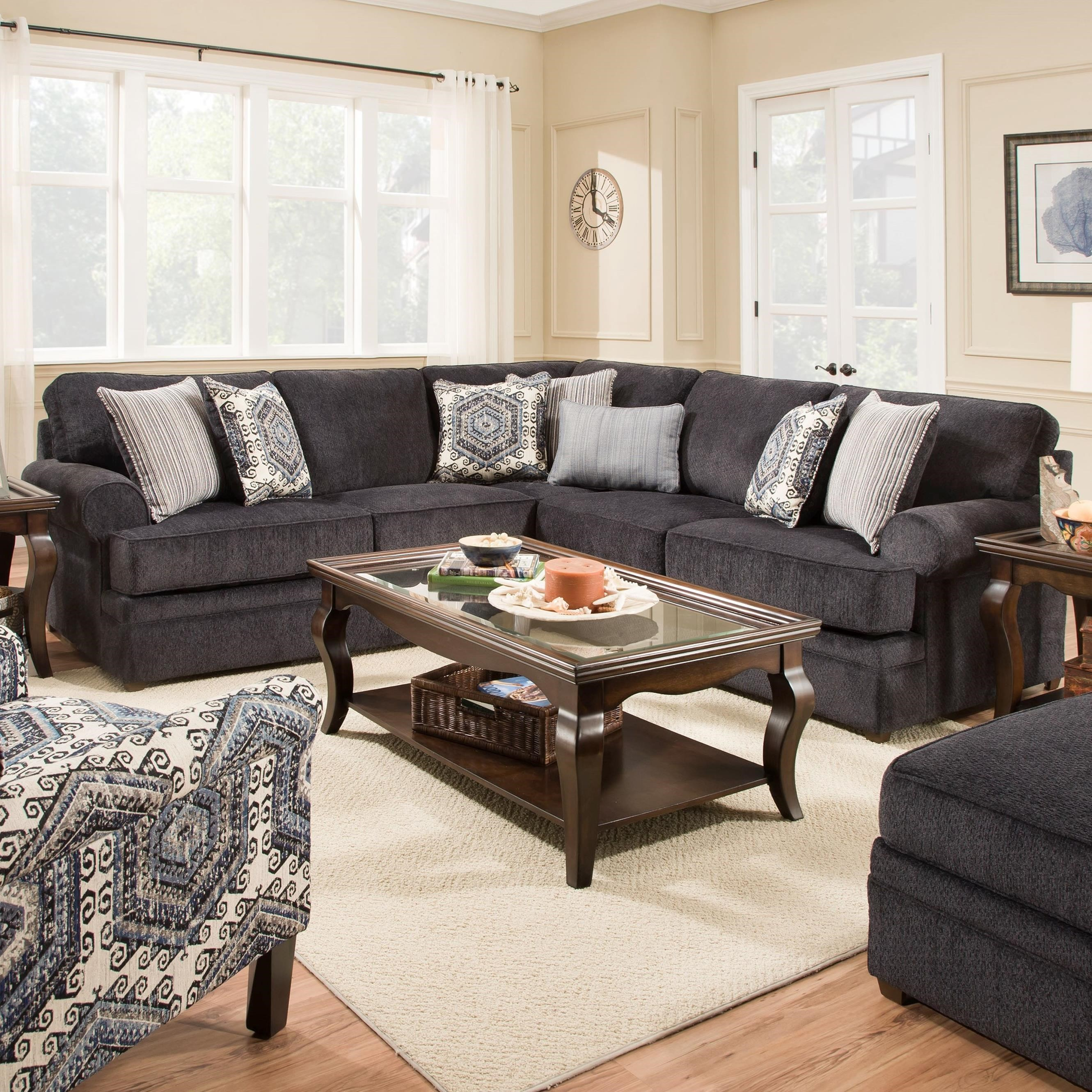 Simmons upholstery 8530 br transitional sectional sofa for Simmons upholstery sectional sofa
