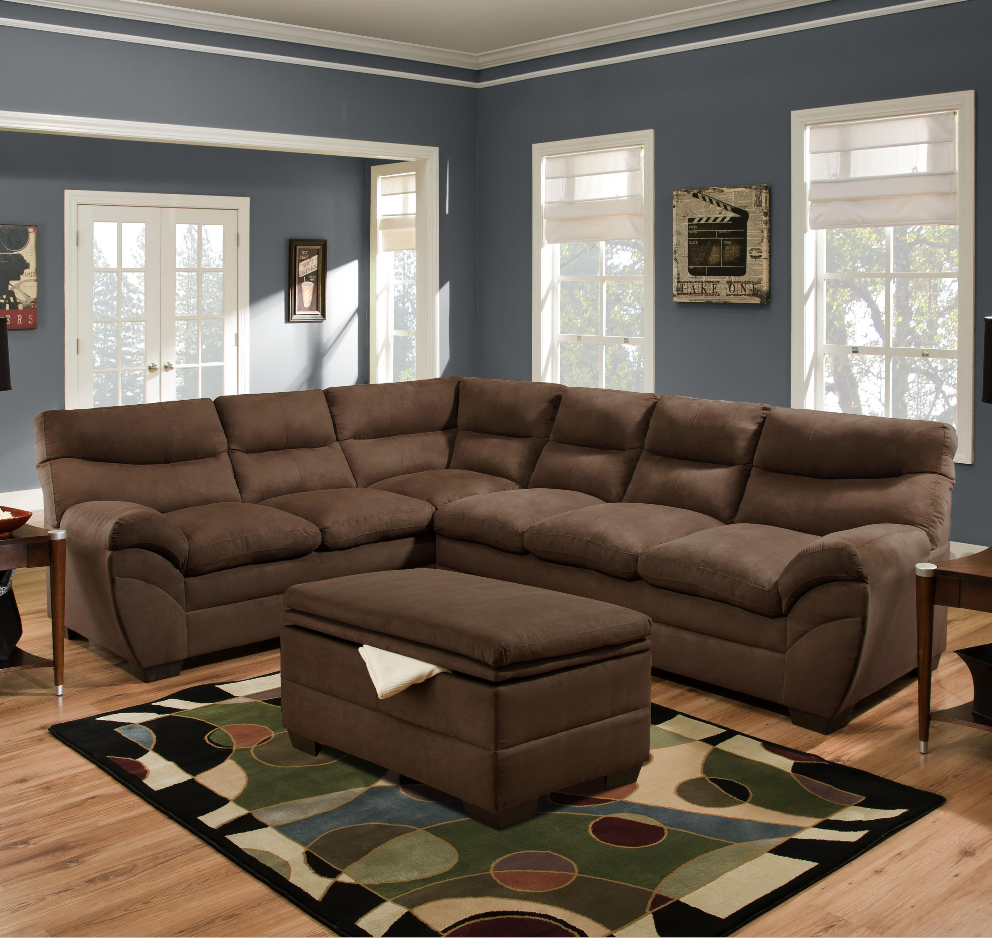 Simmons upholstery 9515 casual sectional sofa dunk for Casual couch