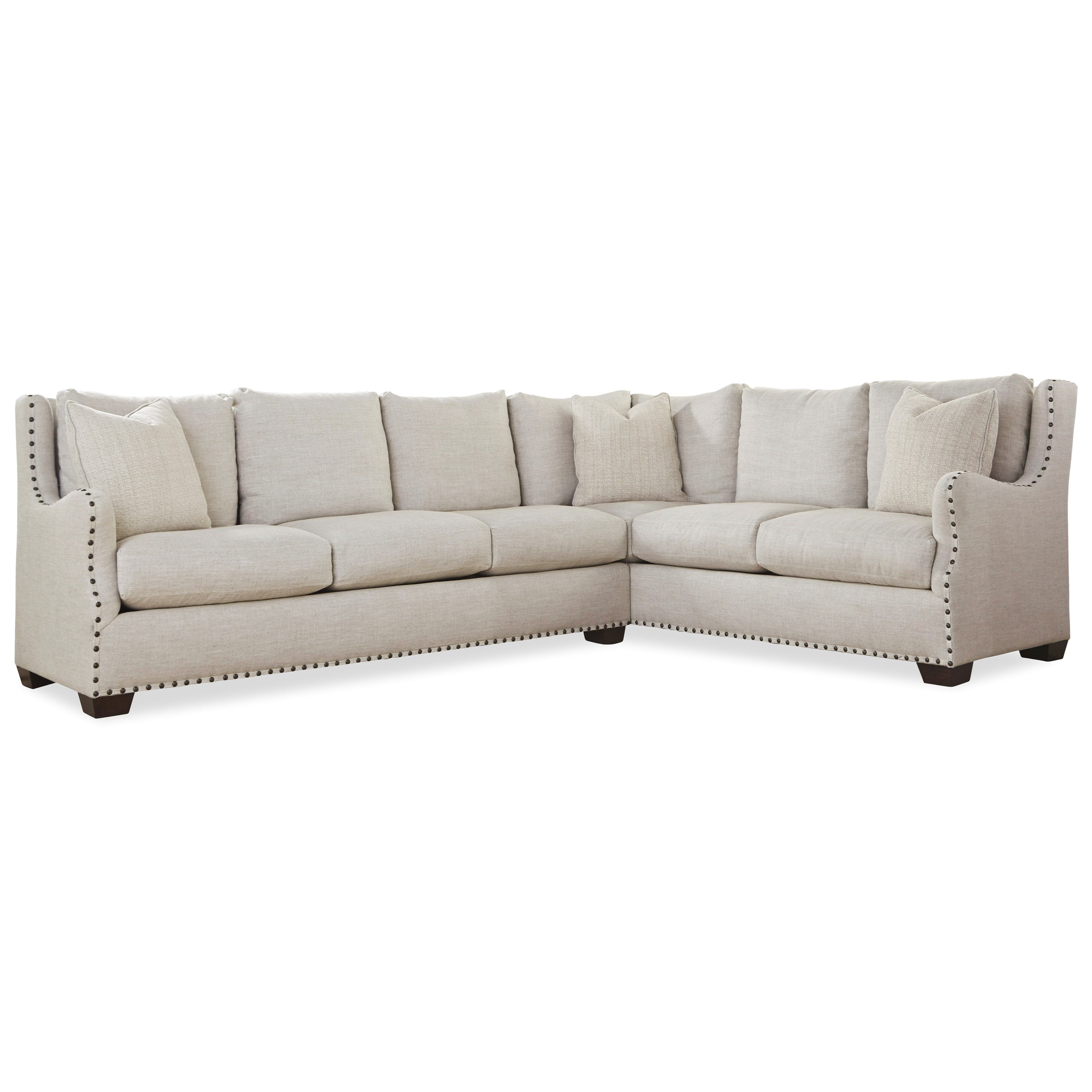 Universal connor traditional sectional sofa with nail head for Traditional sectional