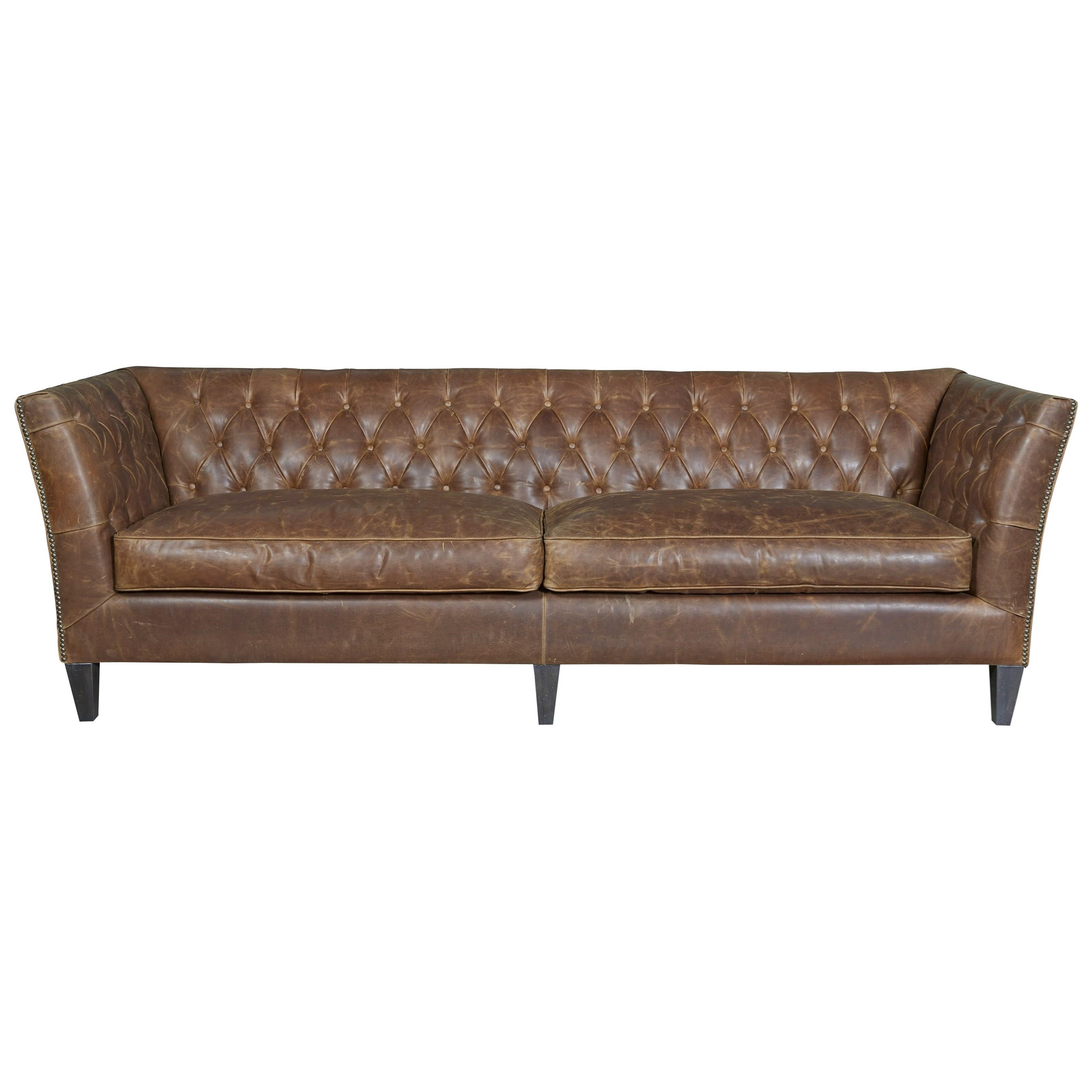 Universal duncan traditional sofa in diamond tufted for Traditional tufted leather sofa