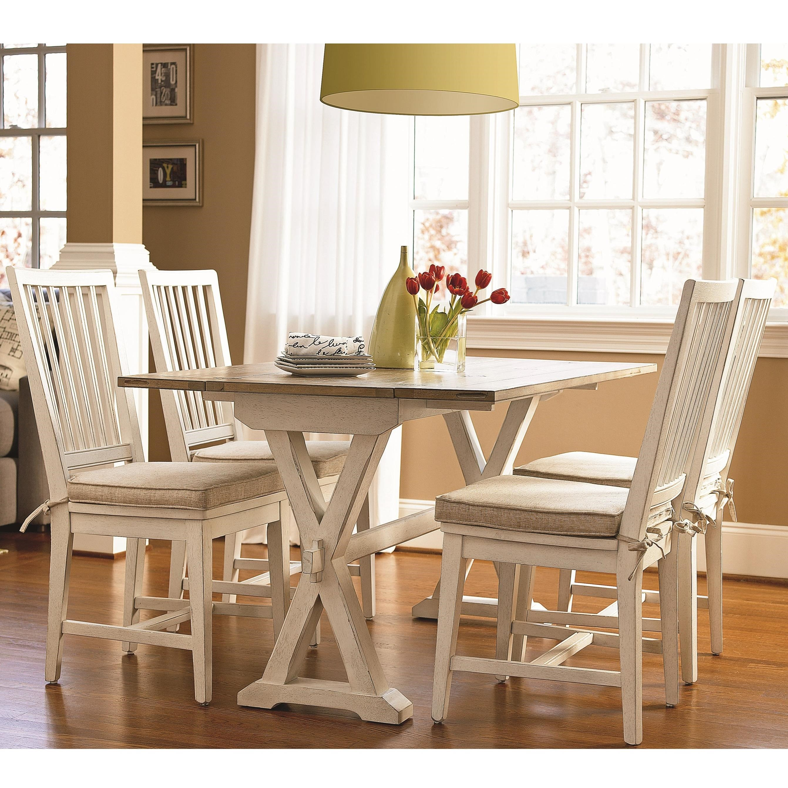 Universal curated 5 piece dining set with drop leaf for Top rated dining room tables