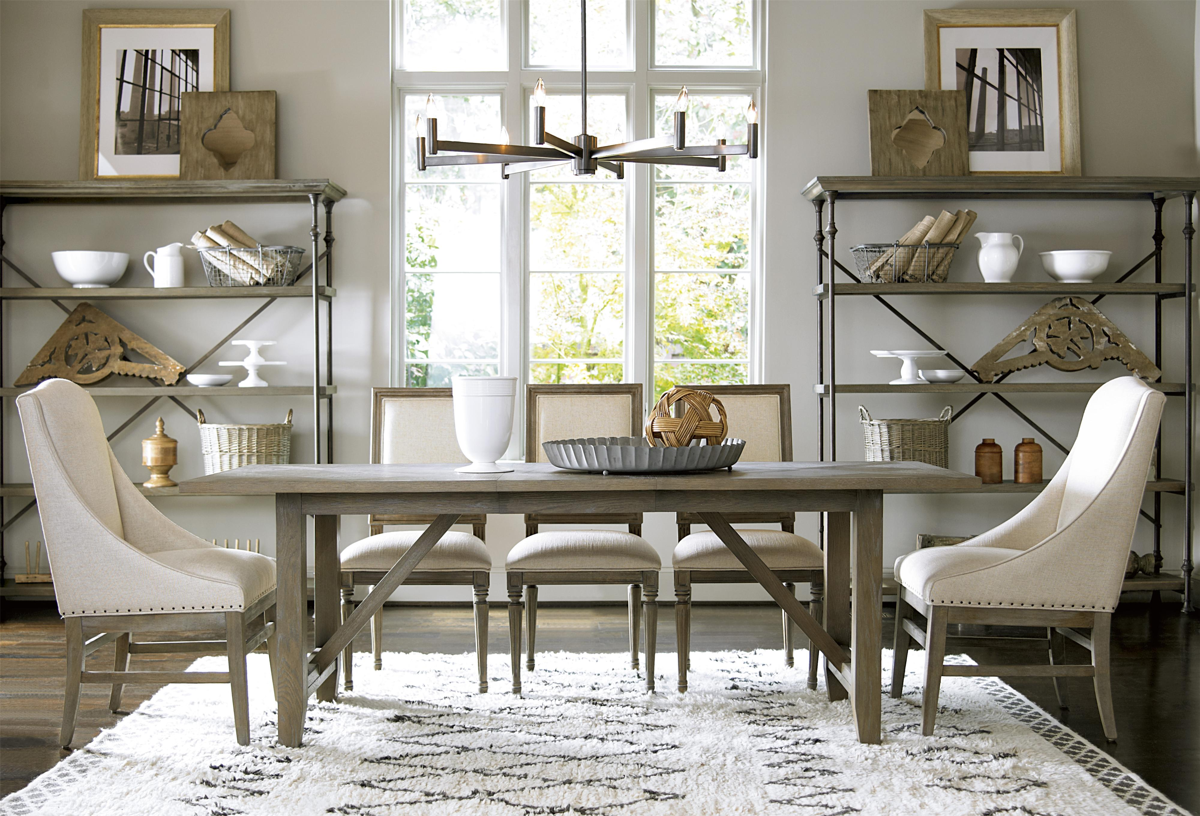 Universal curated chelsea kitchen table with trestle base for Top rated dining room tables