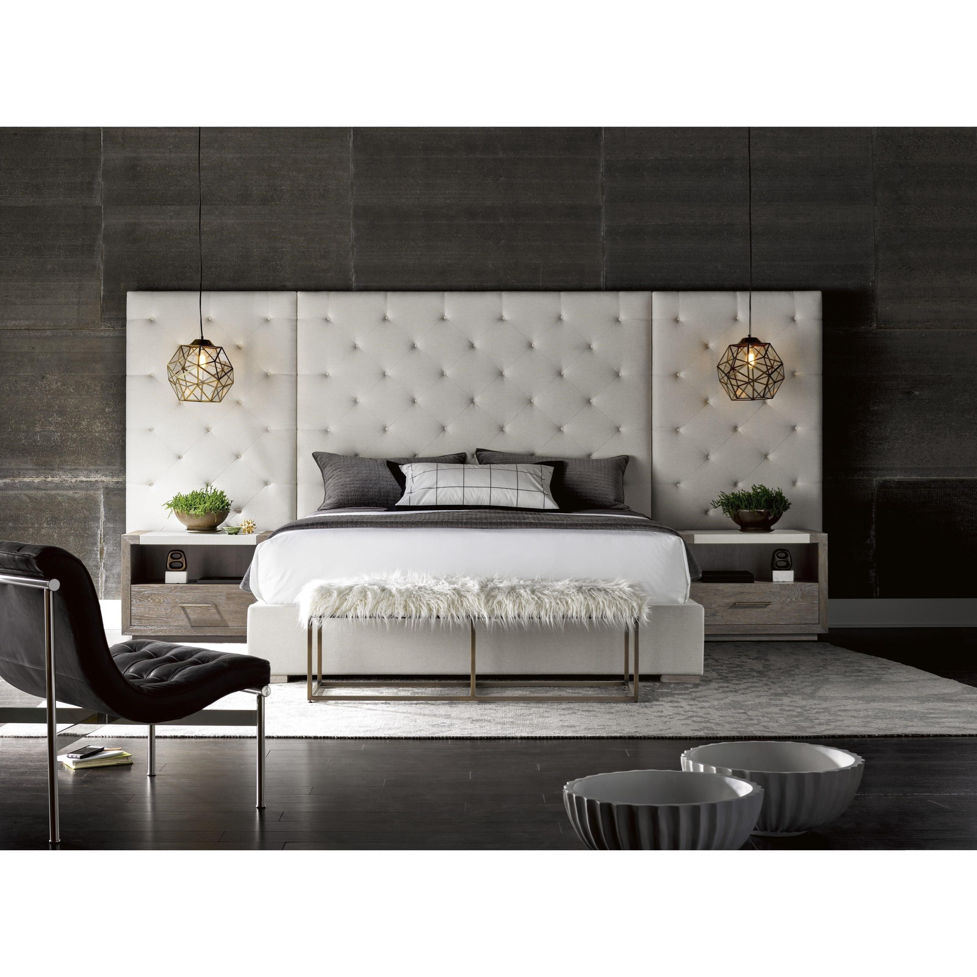 universal modern brando cal king bed with tufted panels. Black Bedroom Furniture Sets. Home Design Ideas