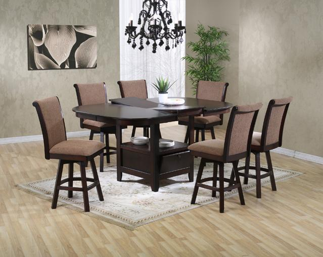 U s furniture inc 2241 2242 7 piece pub height oval top for Dining room table with swivel chairs