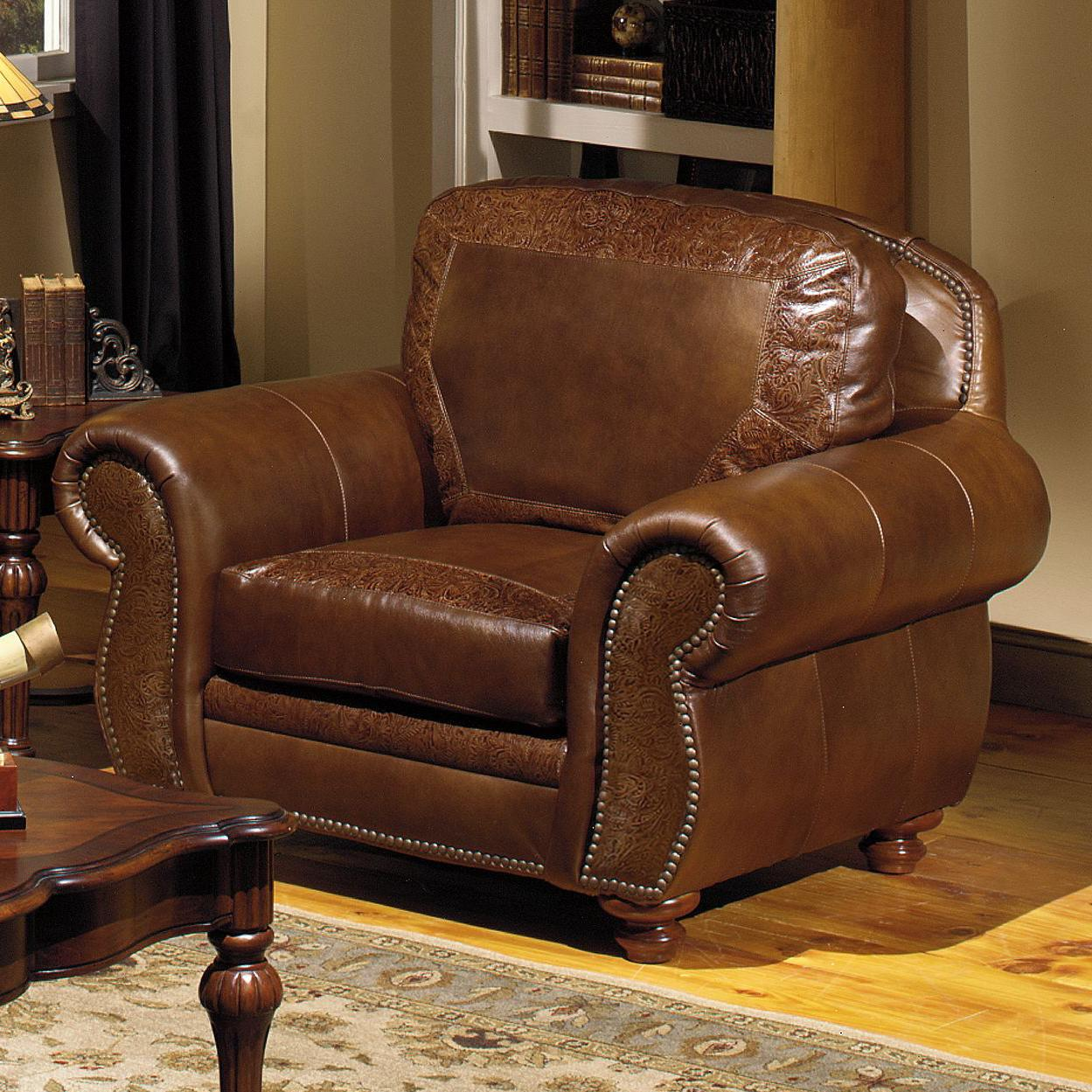 Usa premium leather 8555 traditional leather chair with for Traditional leather sofas furniture