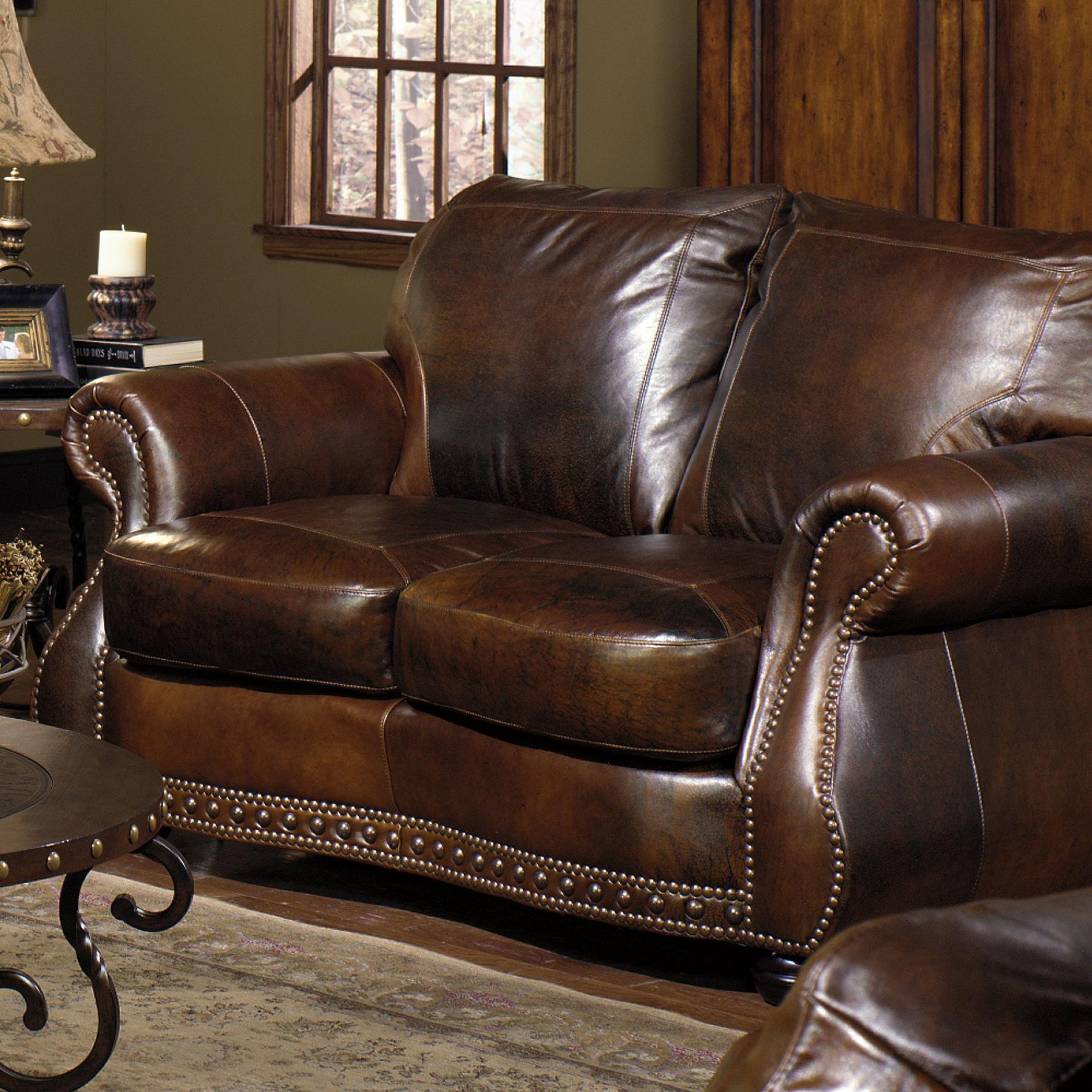 Usa premium leather 8755 loveseat w nail head trimming for Buy sofa online usa