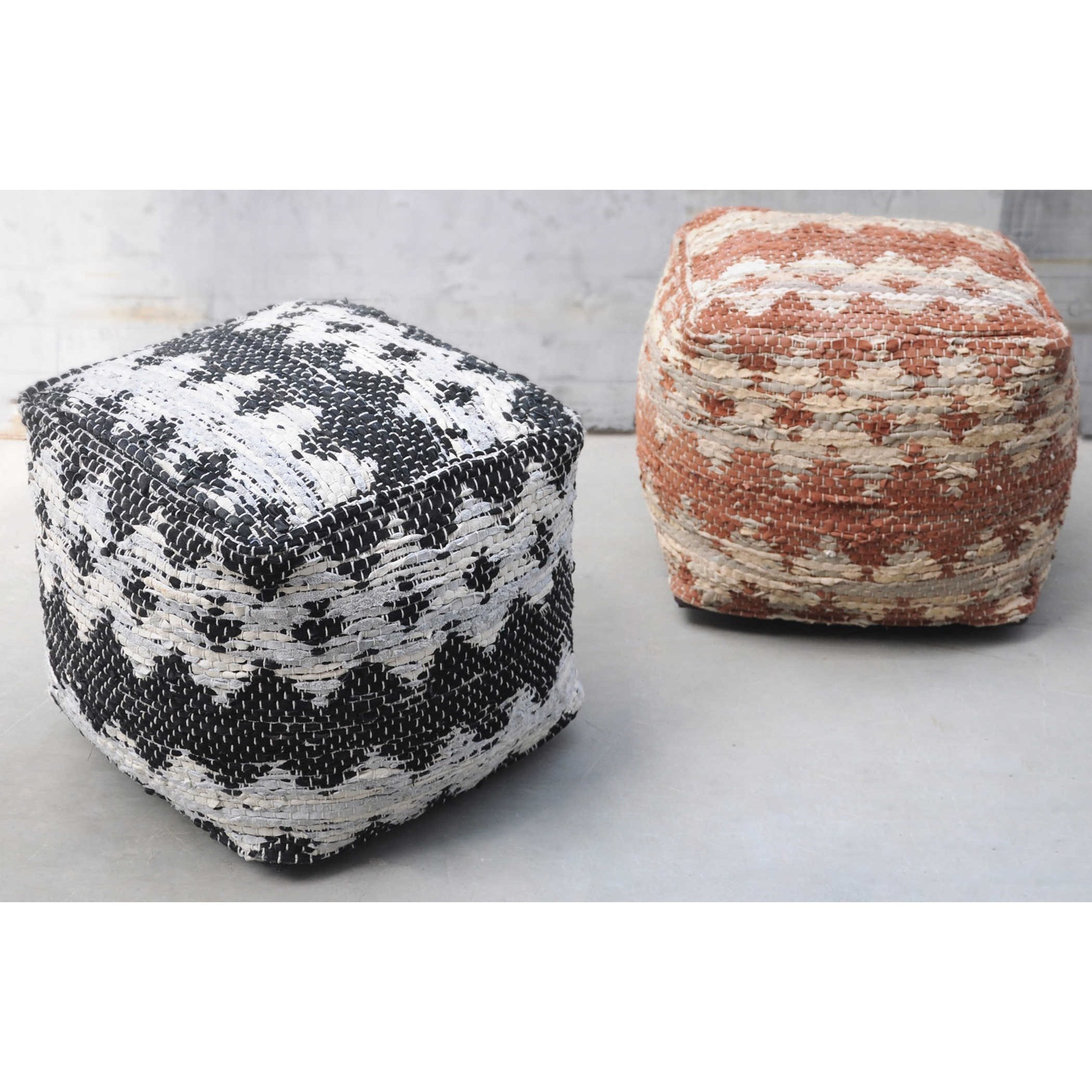uttermost accent furniture 23960 rewa ivory black pouf del sol furniture poufs. Black Bedroom Furniture Sets. Home Design Ideas