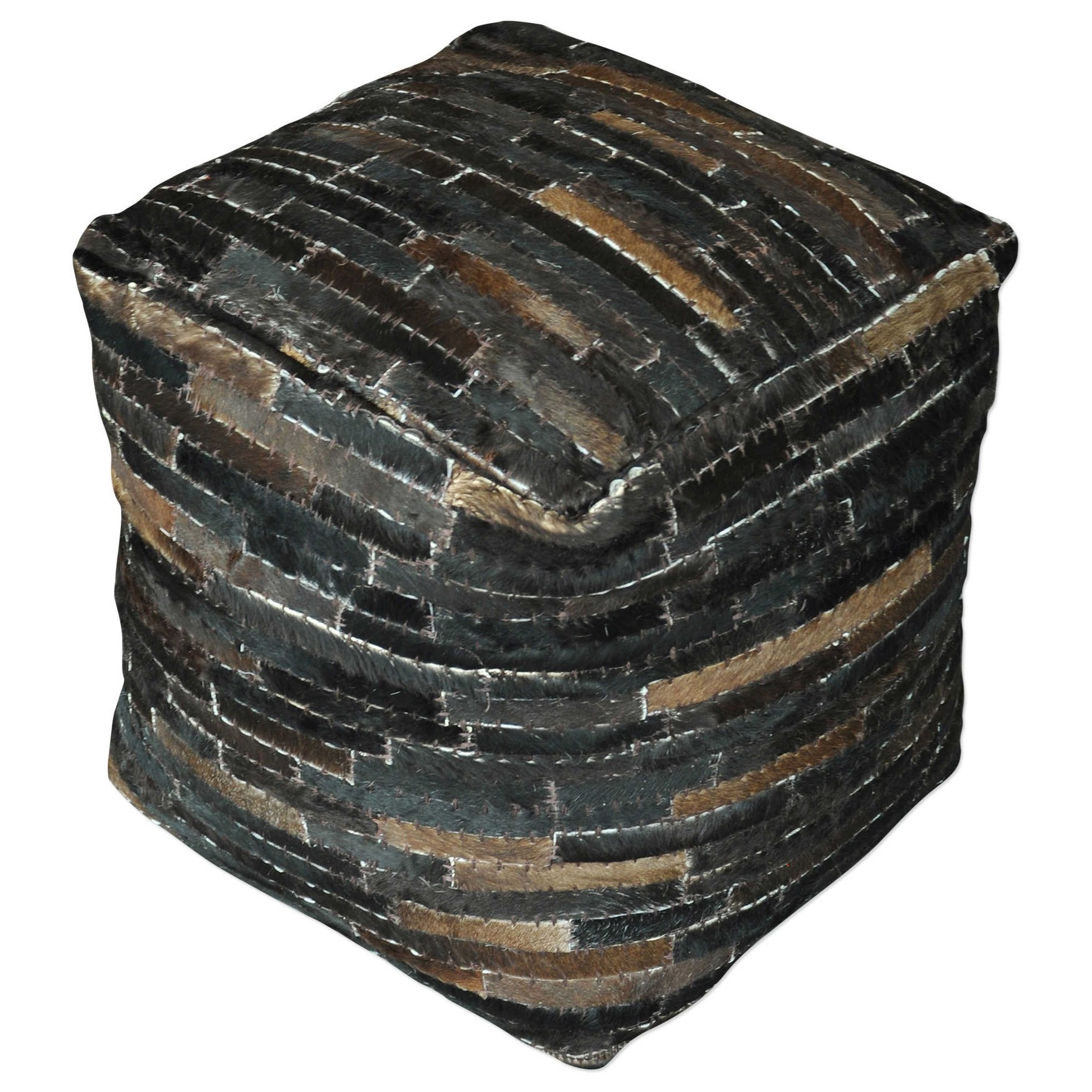 uttermost accent furniture 23963 tiago dark brown pouf del sol furniture poufs. Black Bedroom Furniture Sets. Home Design Ideas