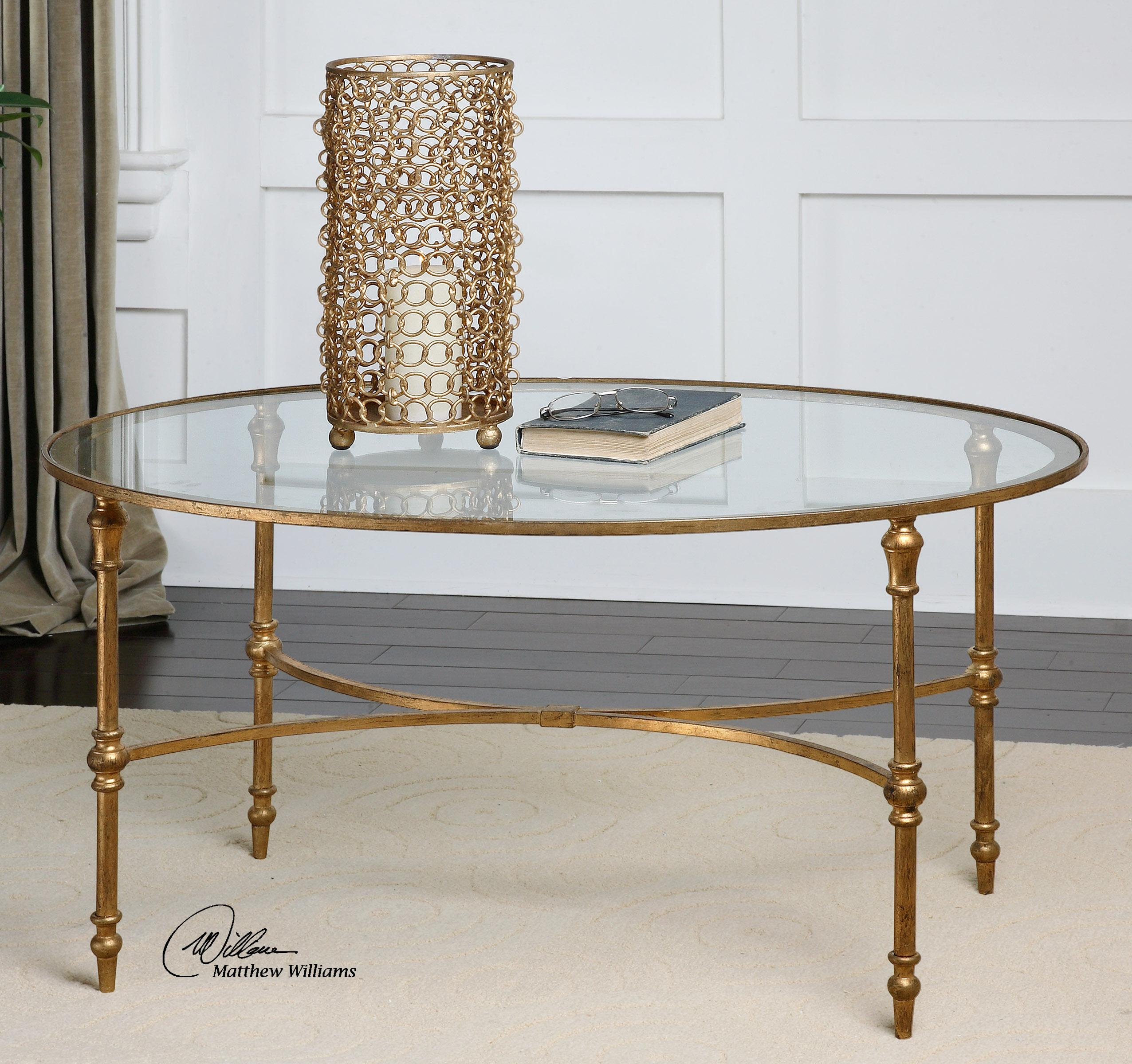 Uttermost accent furniture 24338 vitya glass coffee table for Bright colored side tables