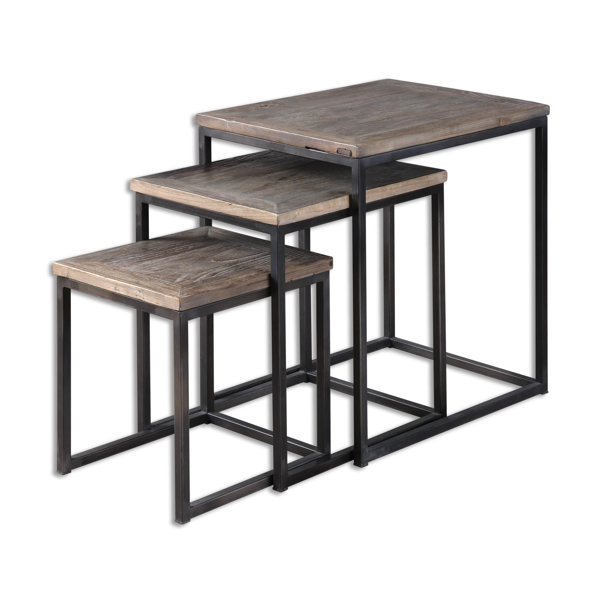 Uttermost accent furniture 24460 bomani wood nesting for Bright colored side tables