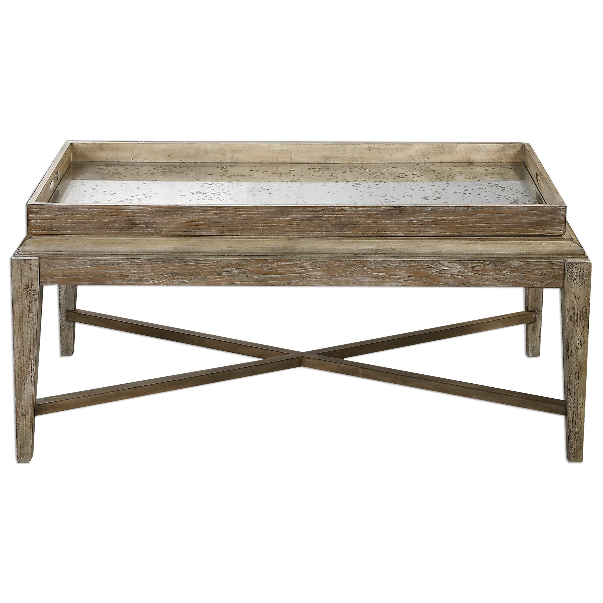 Uttermost accent furniture 24526 marek wooden coffee table for Bright colored side tables