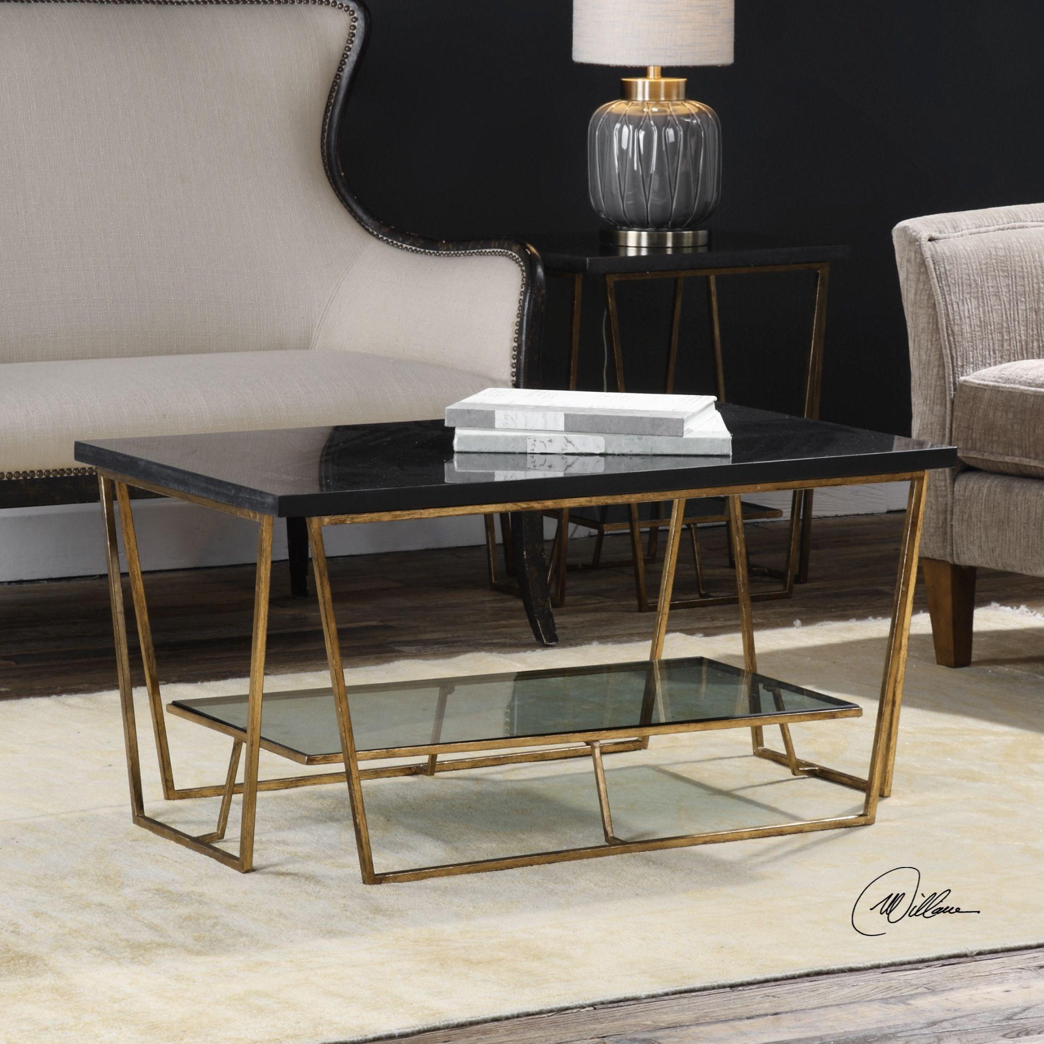 Uttermost Accent Furniture 24784 Agnes Black Granite Coffee Table Dunk Bright Furniture