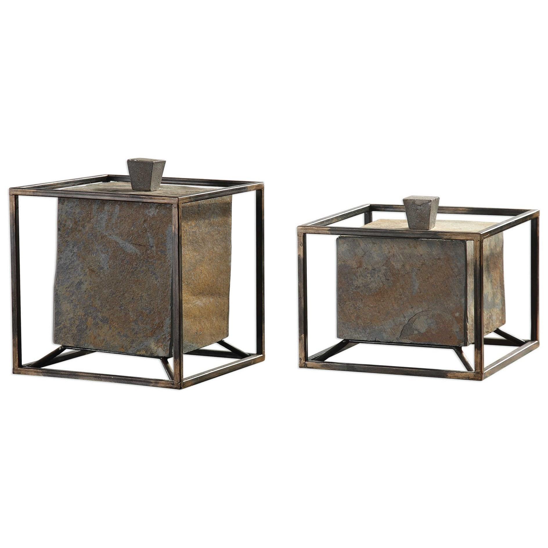 uttermost accessories slate cube boxes set of 2 mueller furniture boxes. Black Bedroom Furniture Sets. Home Design Ideas