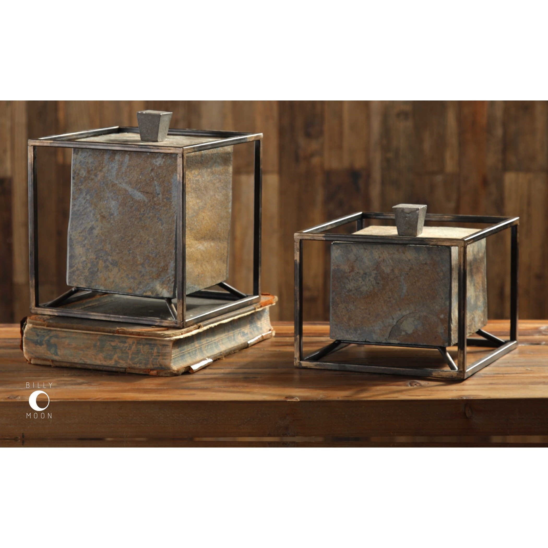 uttermost accessories slate cube boxes set of 2 jacksonville furniture mart boxes. Black Bedroom Furniture Sets. Home Design Ideas