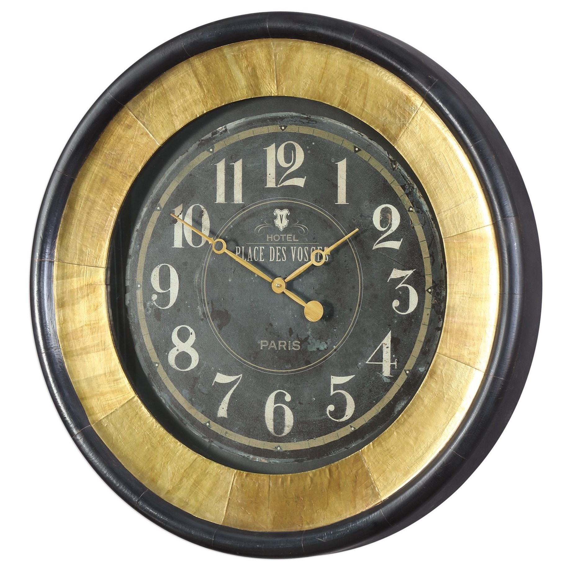 clocks uttermost lannaster black gold wall clock. Black Bedroom Furniture Sets. Home Design Ideas