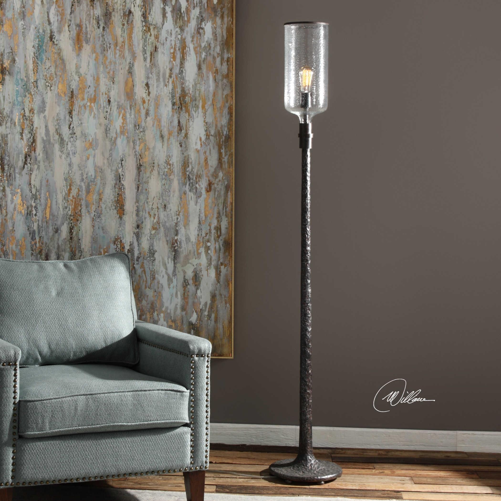 Uttermost lamps hadley old industrial floor lamp for Hadley chrome floor lamp