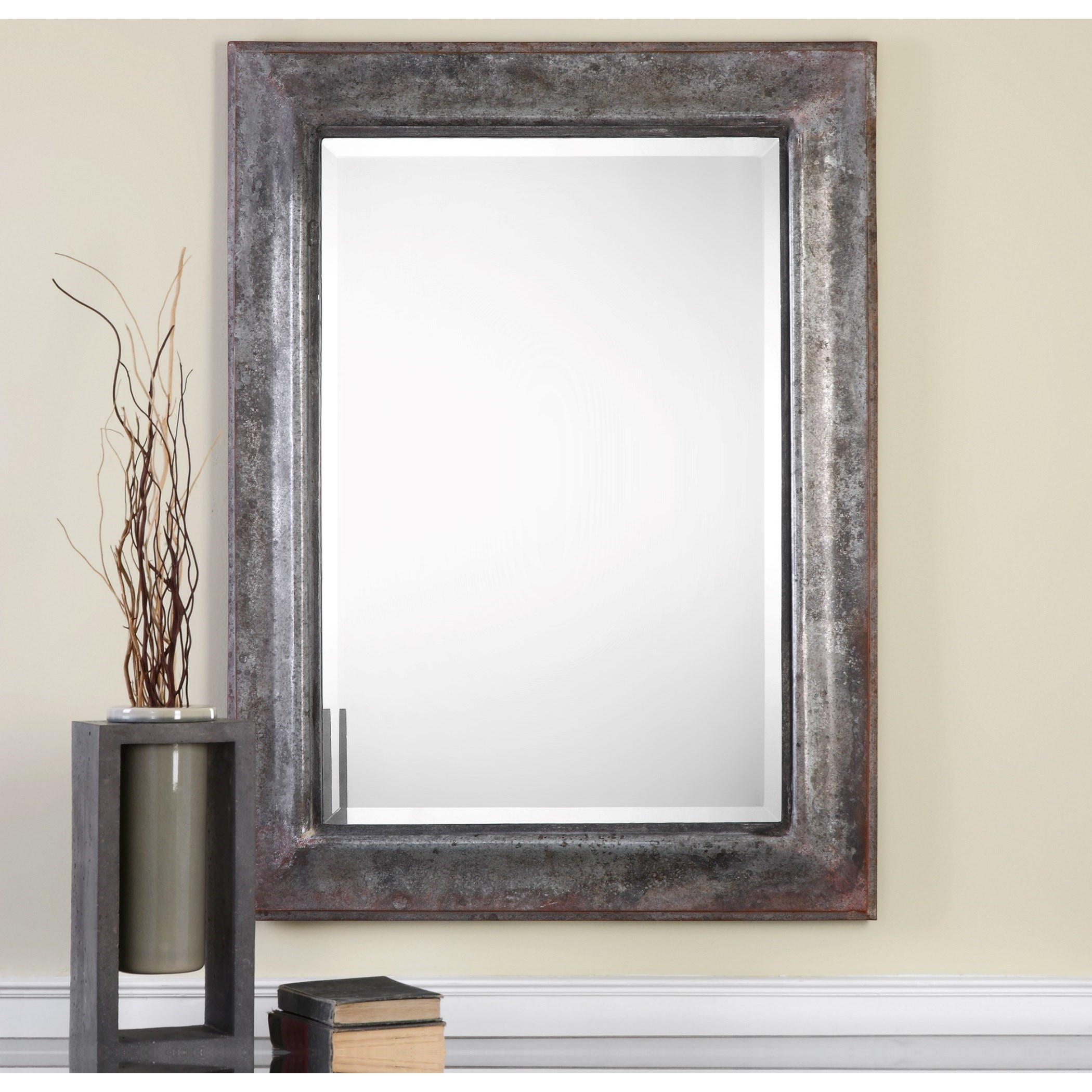 Uttermost mirrors 09127 agathon aged stone gray mirror for Long grey wall mirror