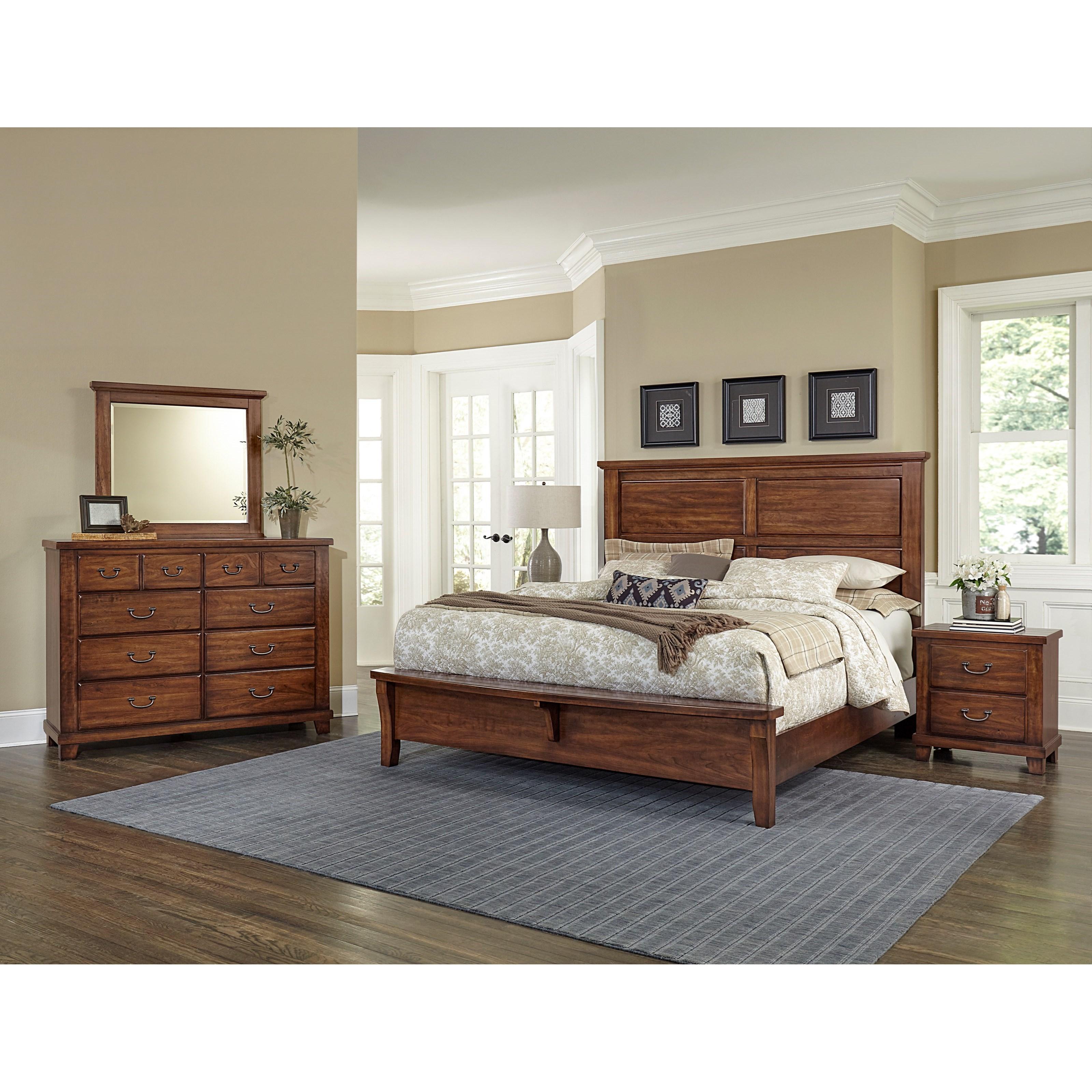 Vaughan bassett american cherry queen bedroom group for Bedroom groups