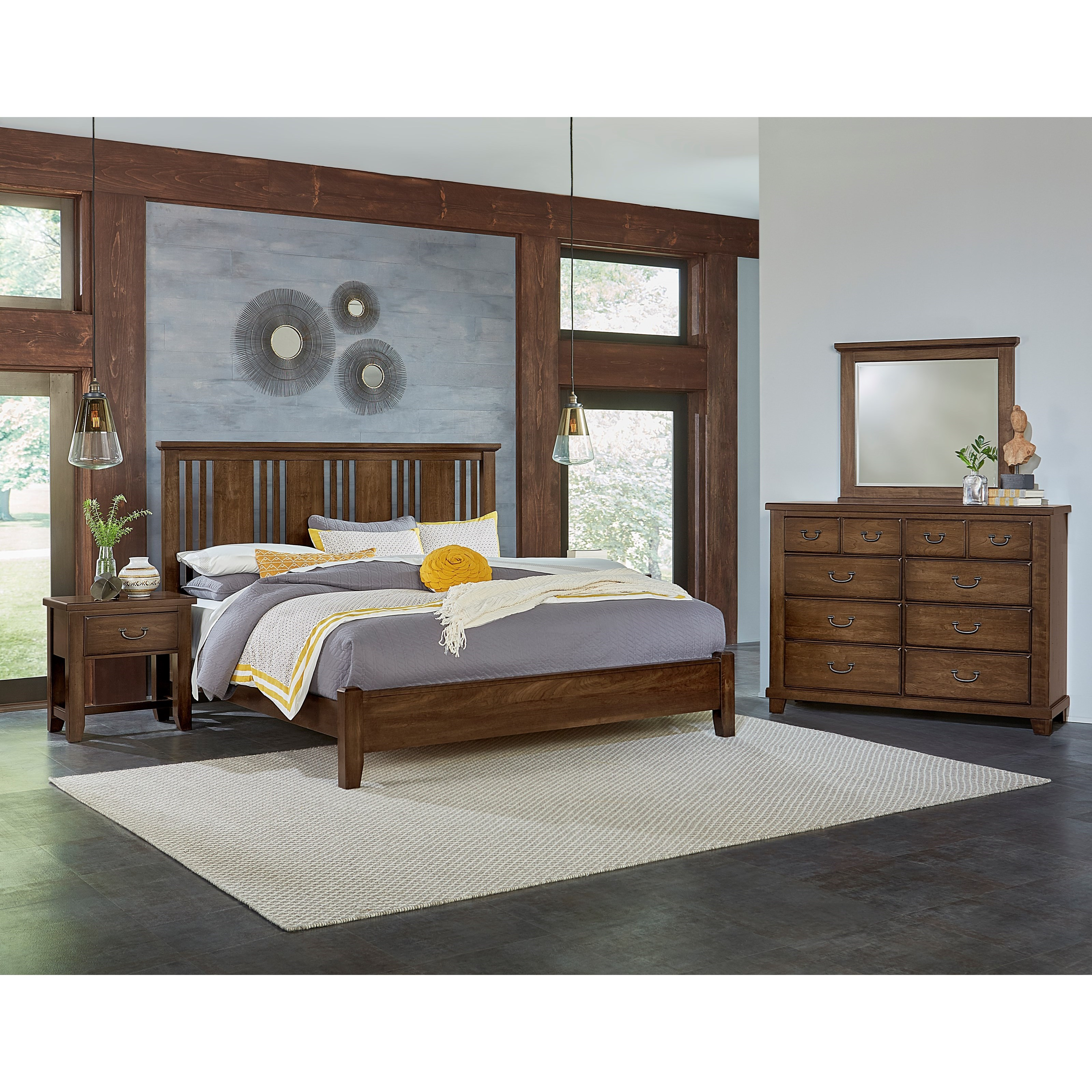 Vaughan bassett american cherry king bedroom group for Bedroom groups
