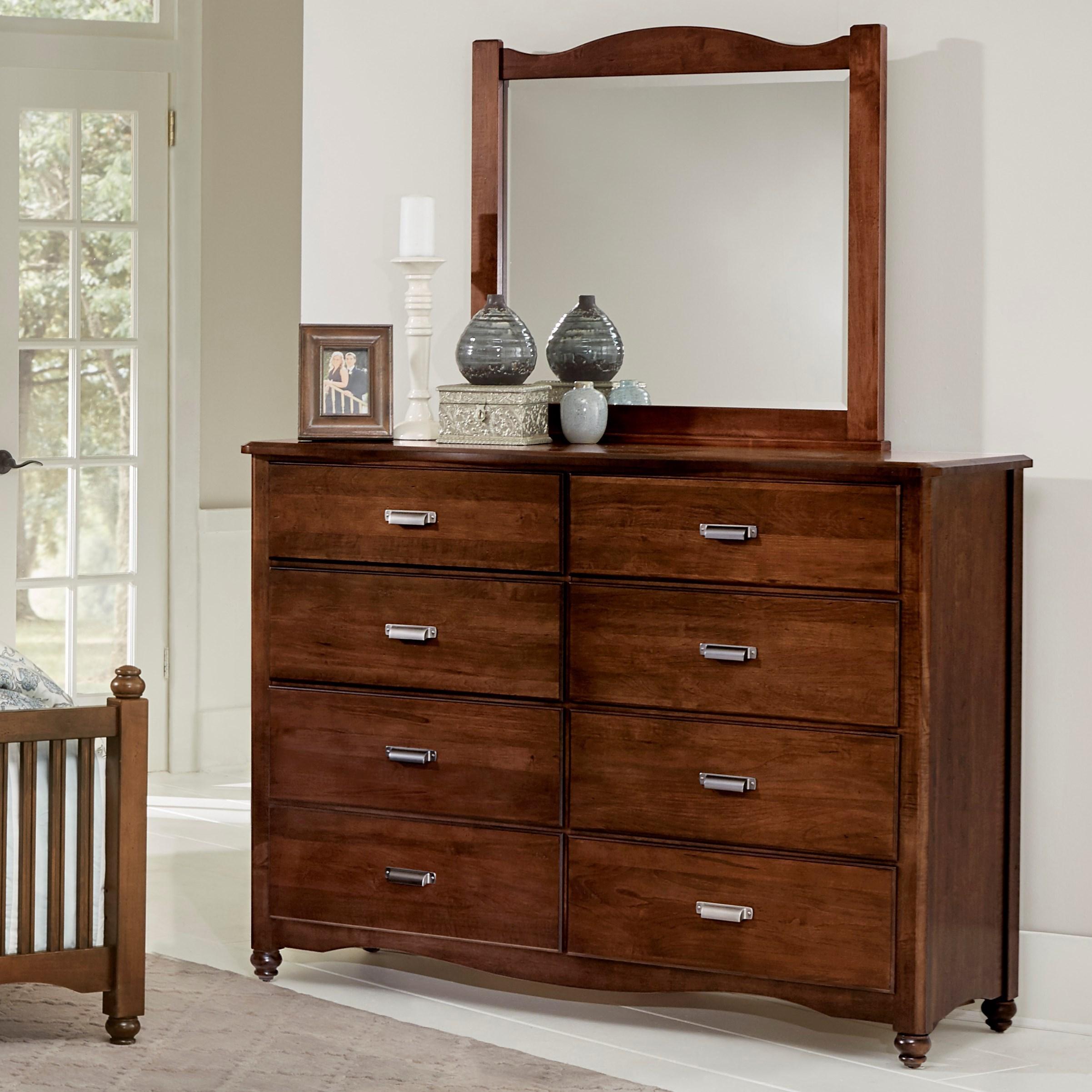 Vaughan bassett american maple solid wood bureau landscape mirror dunk bright furniture for Solid maple bedroom furniture