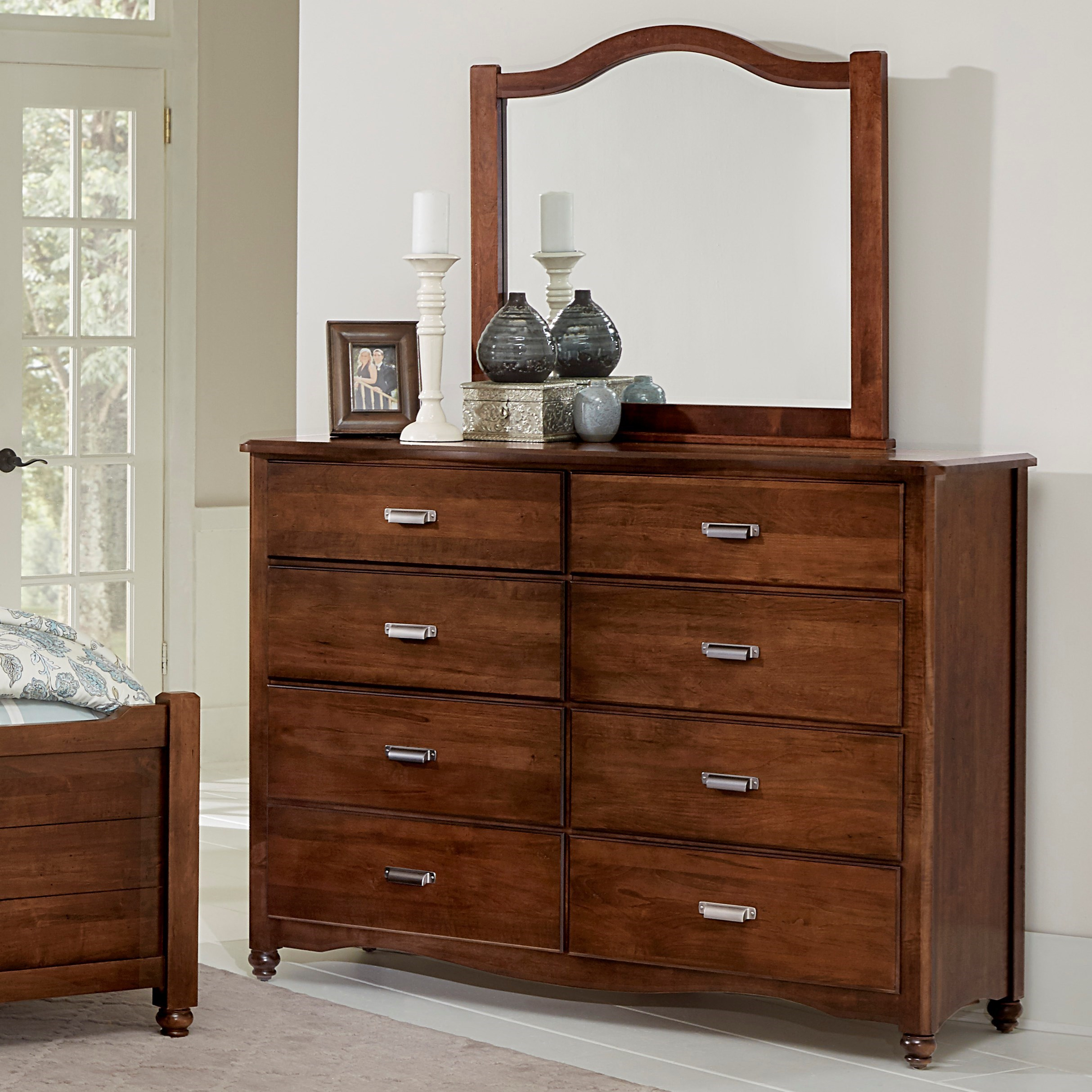 Vaughan Bassett American Maple Solid Wood Bureau Arched Mirror Lapeer Furniture Mattress